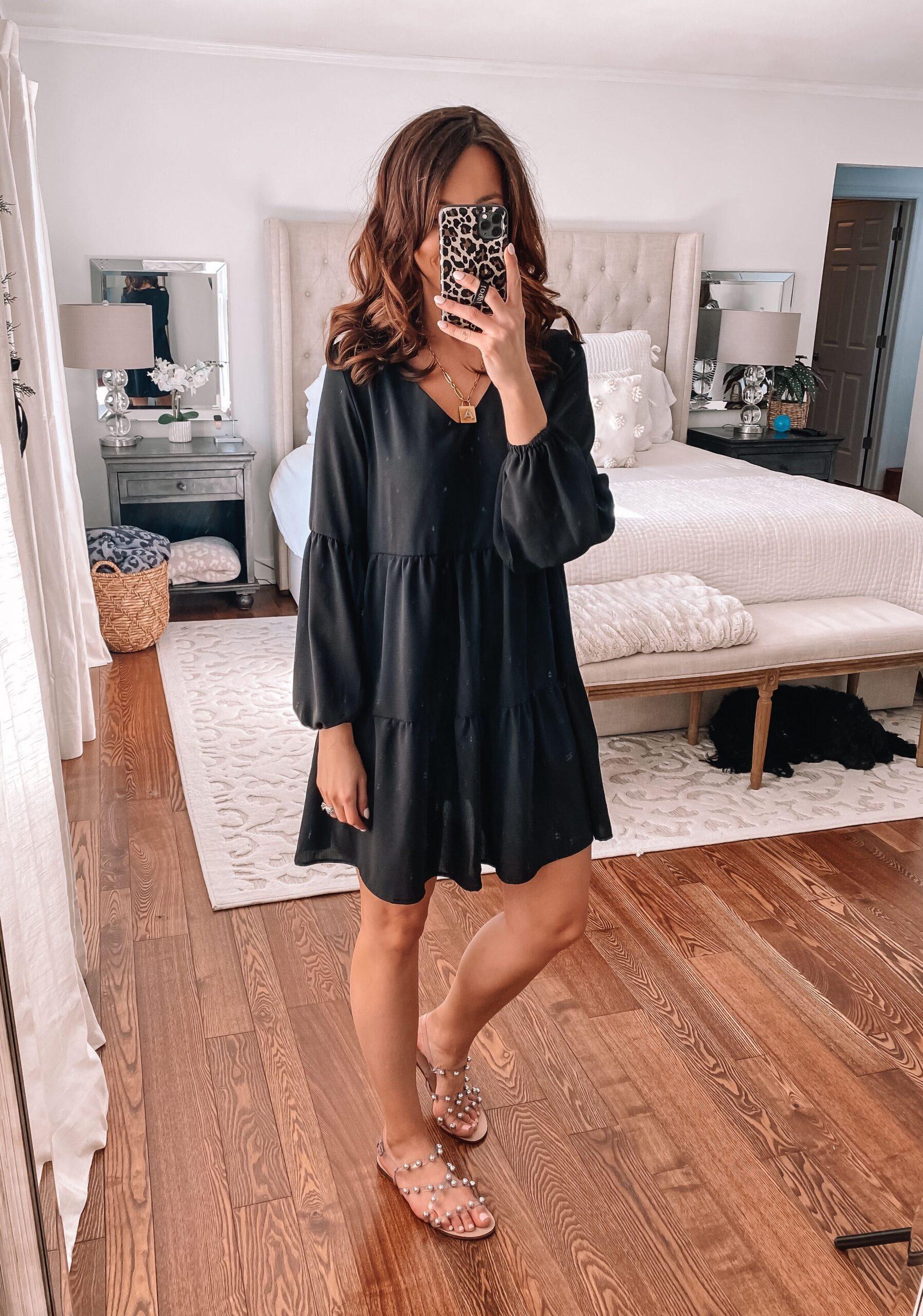 amazon tiered black dress