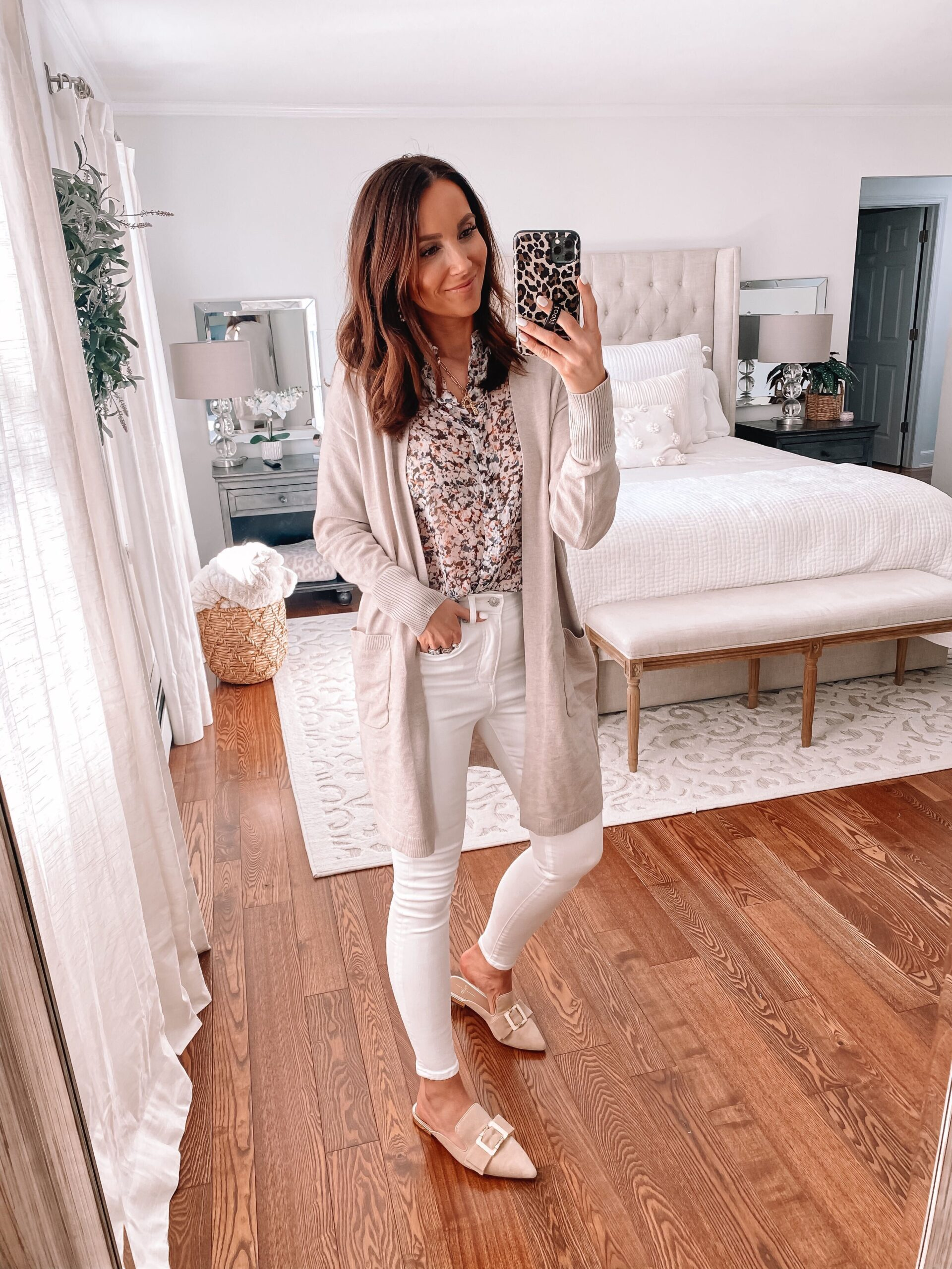 express cardigan and floral blouse
