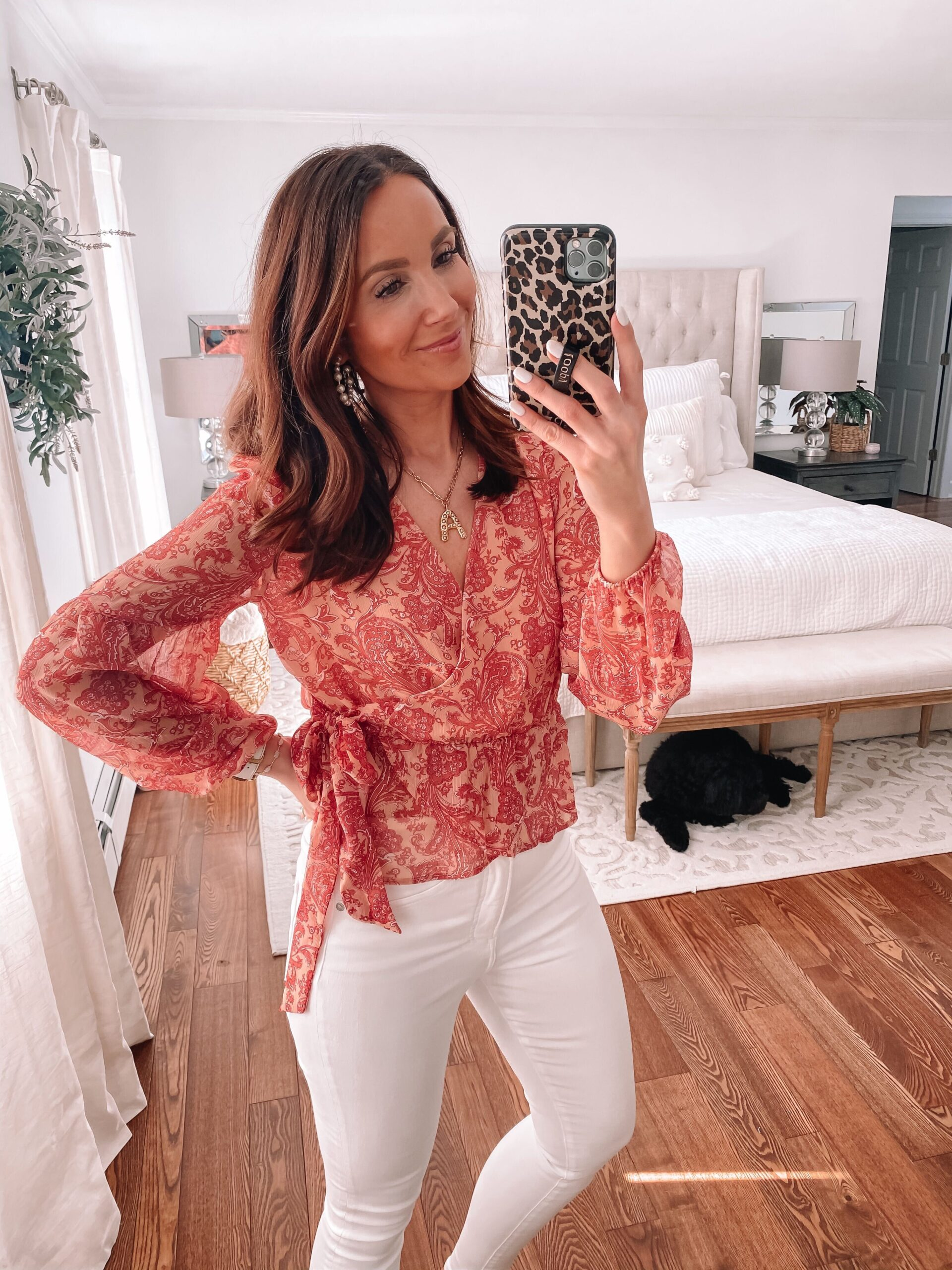 express red wrap blouse