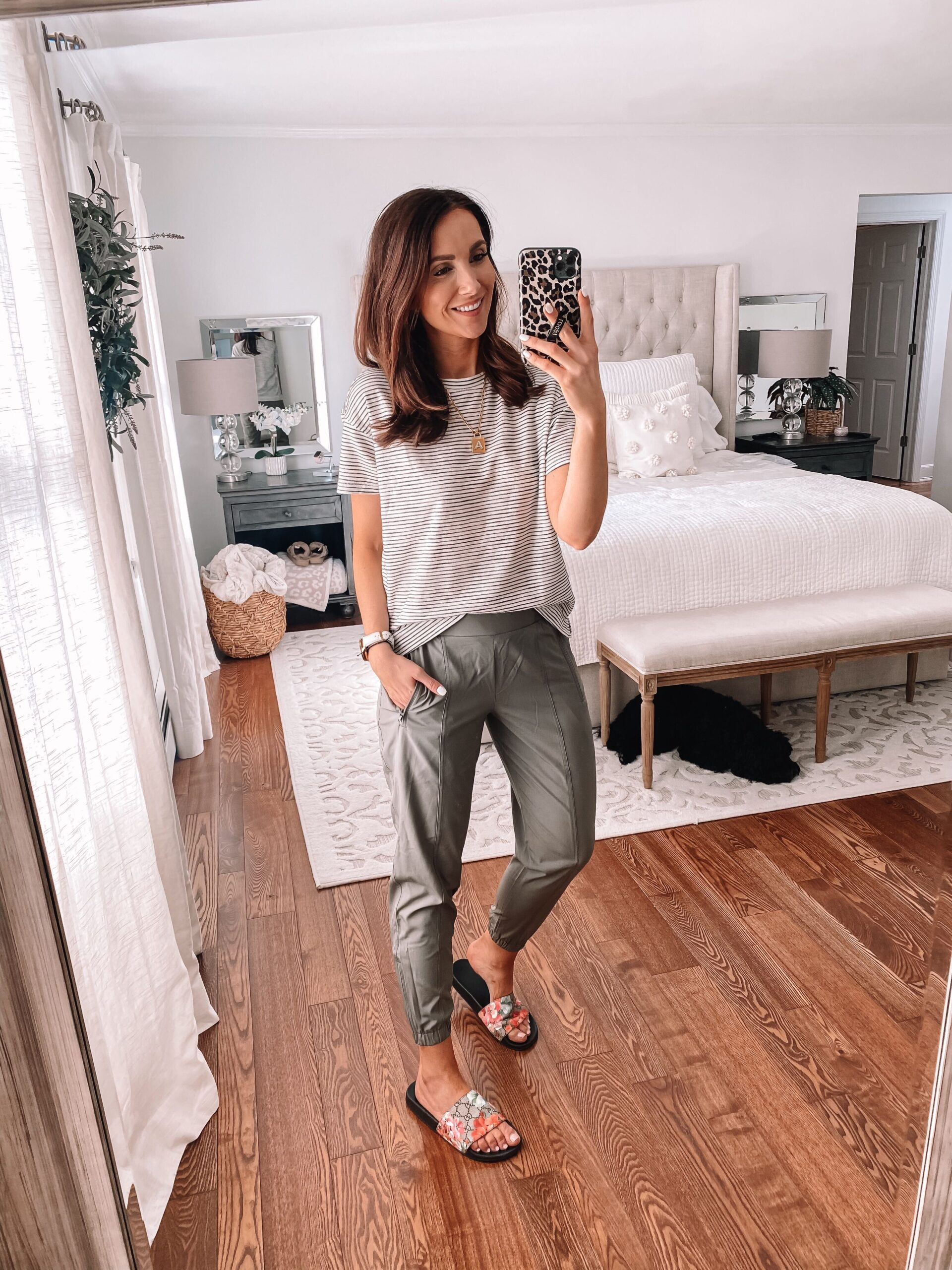 old navy joggers with stripe tee