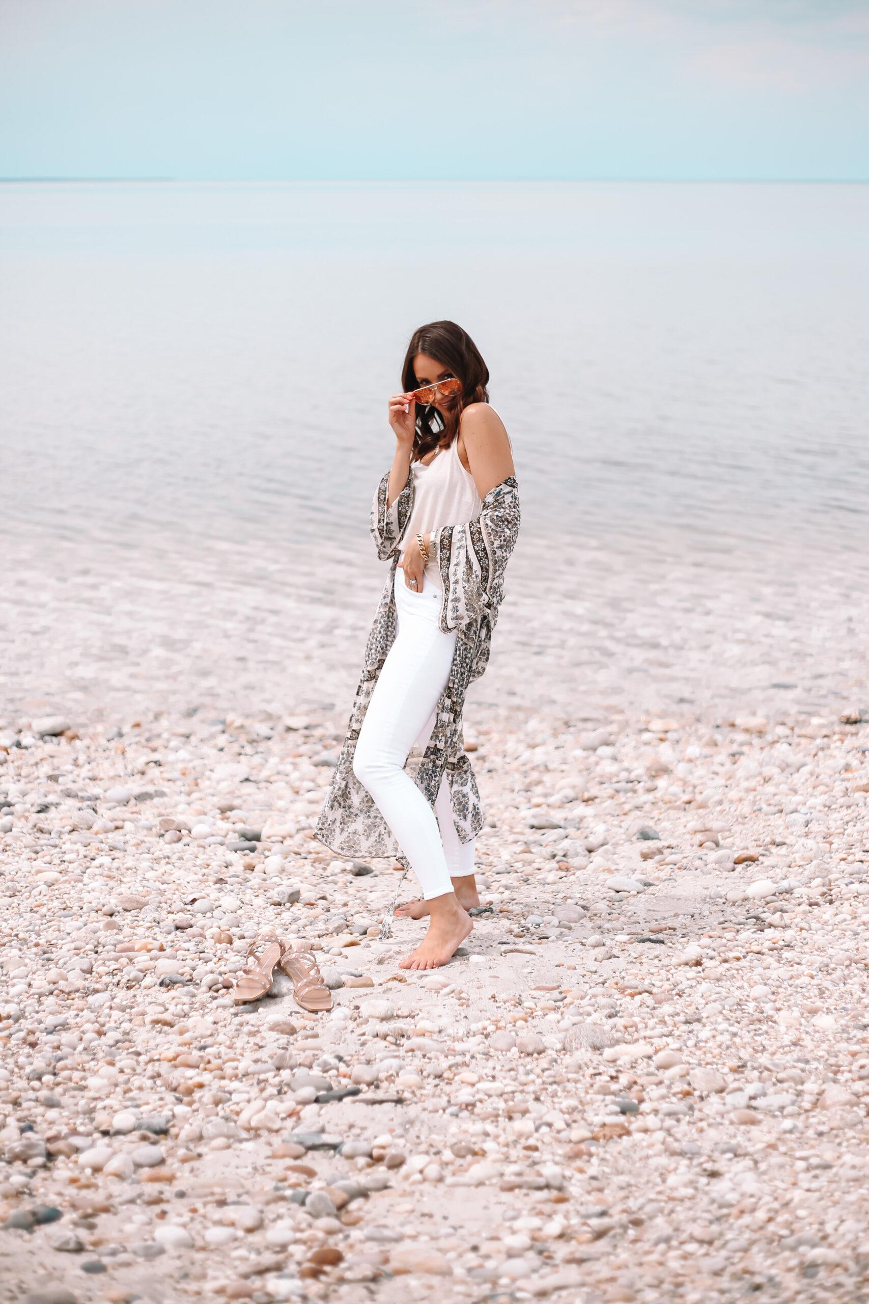 express kimono with white jeans