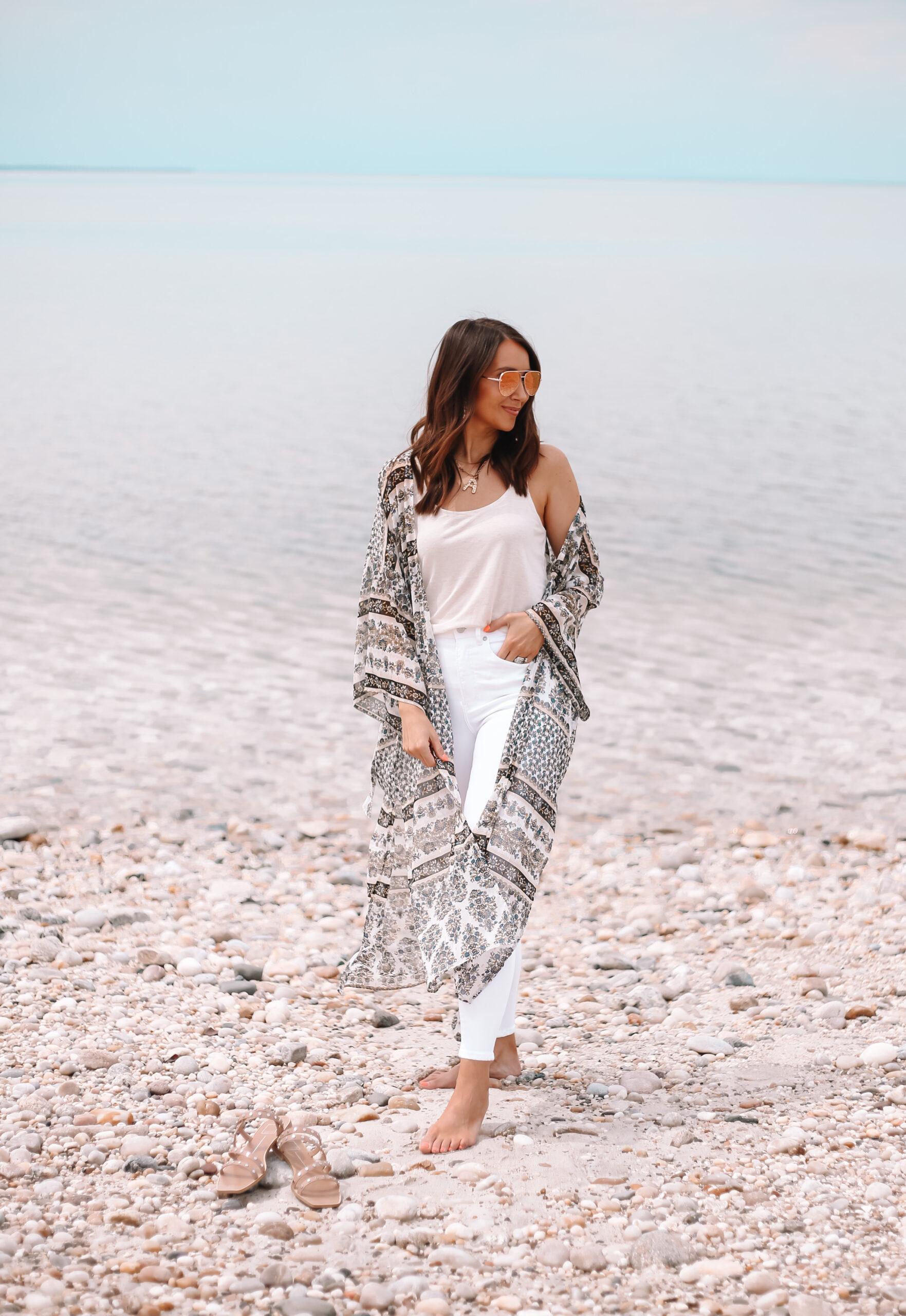 Express kimono, spring outfit with white jeans
