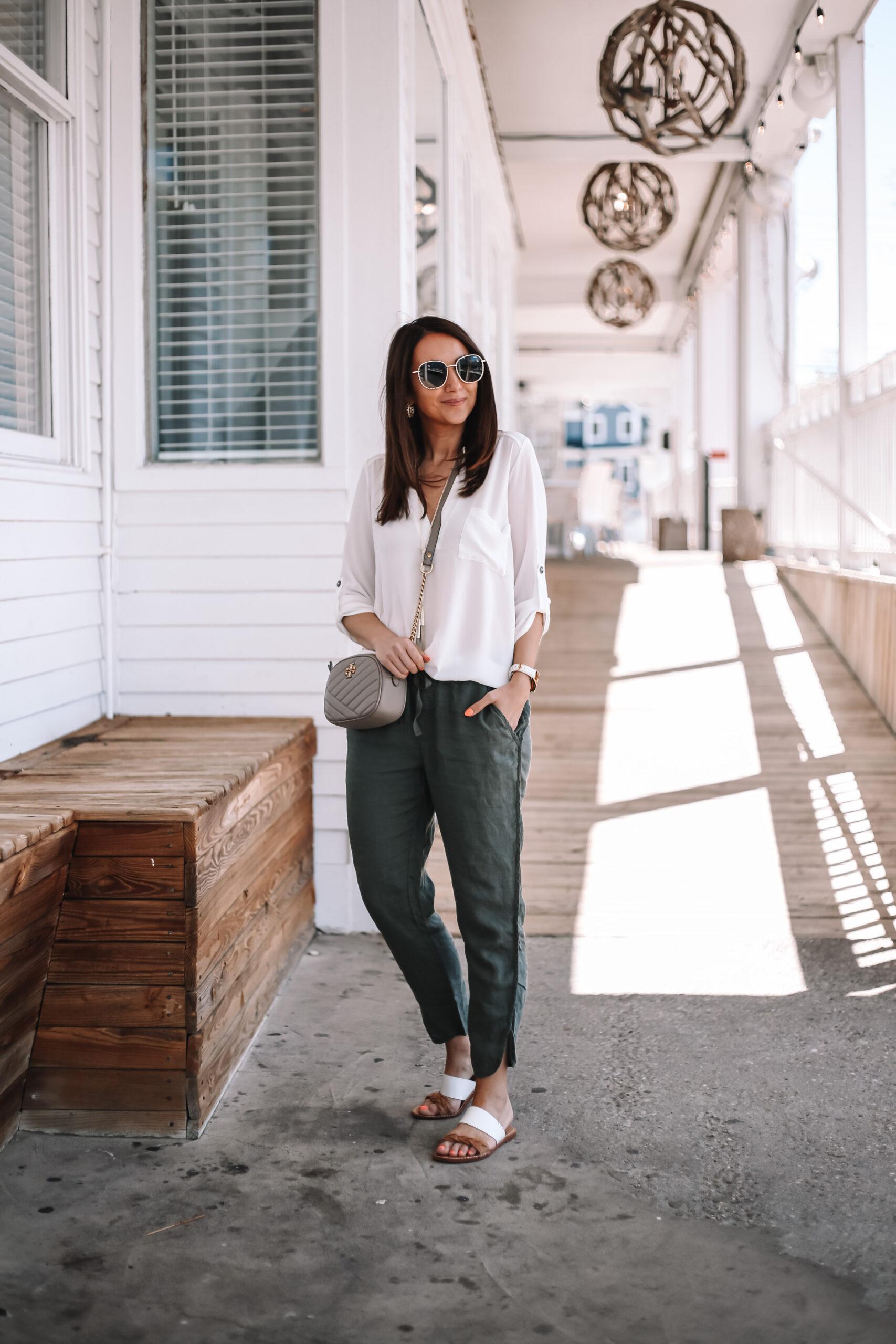 green linen pants, perfect henley