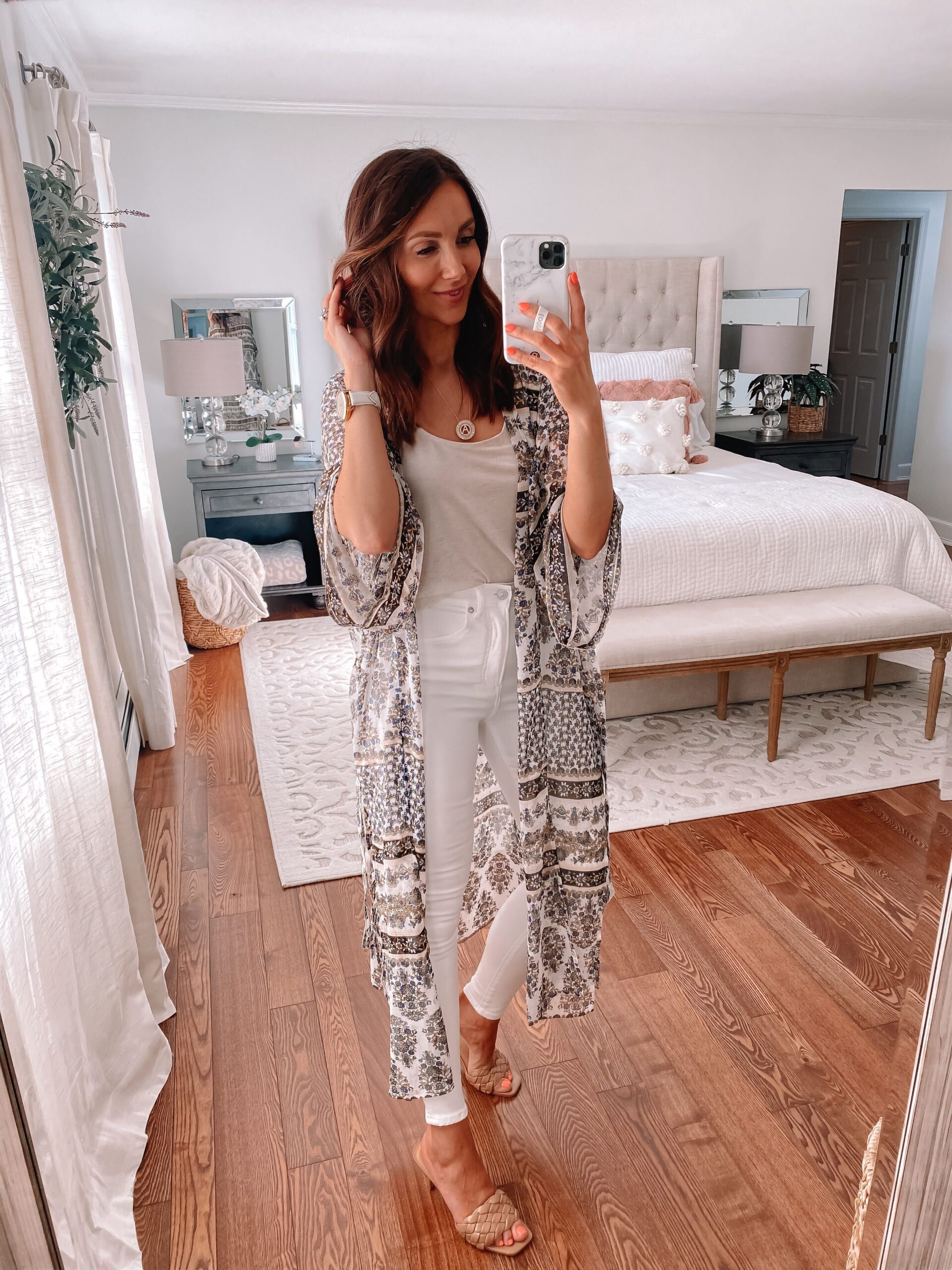 spring outfit, express kimono with white jeans