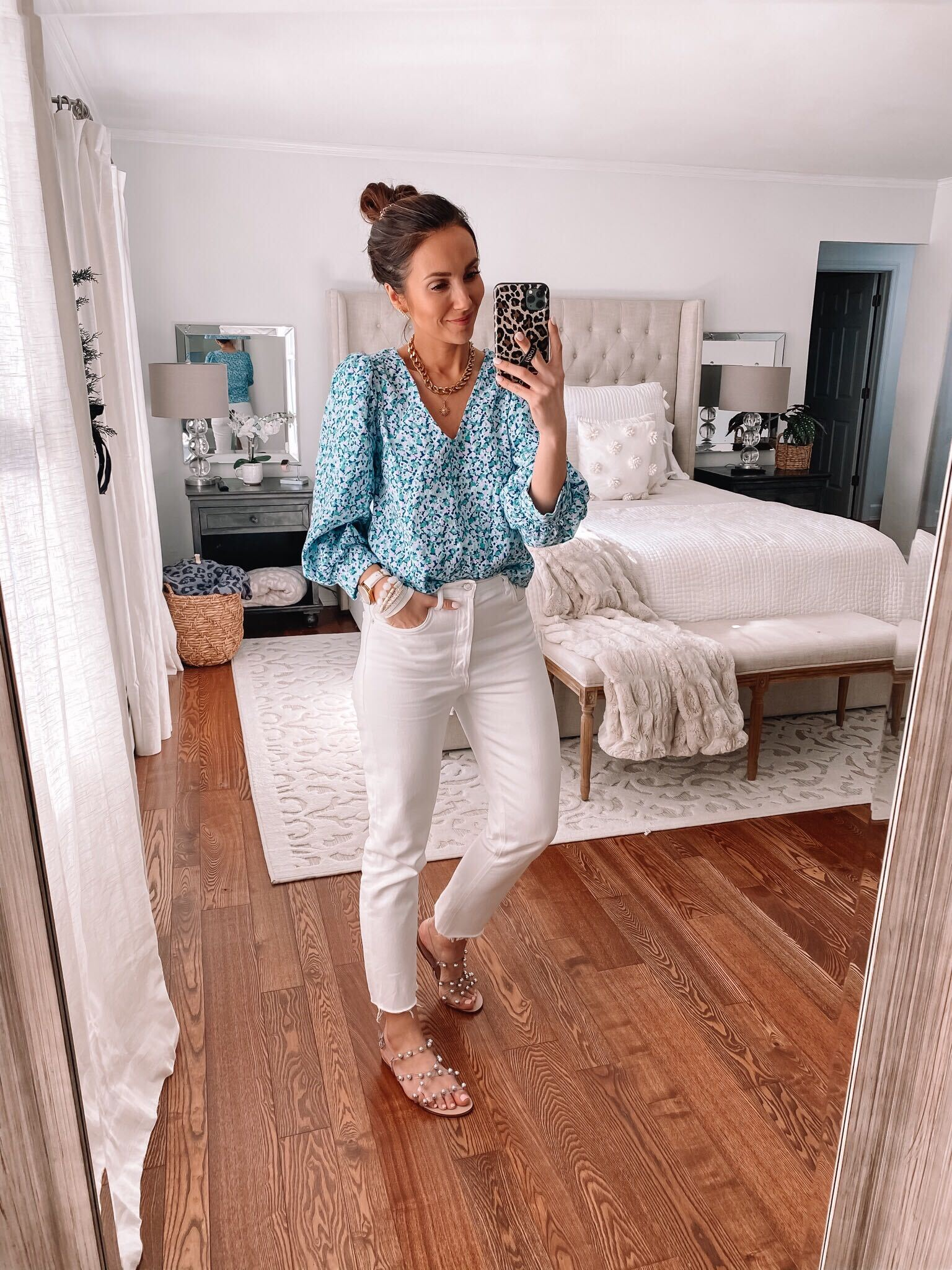 target floral blouse, spring outfit, outfit with white jeans
