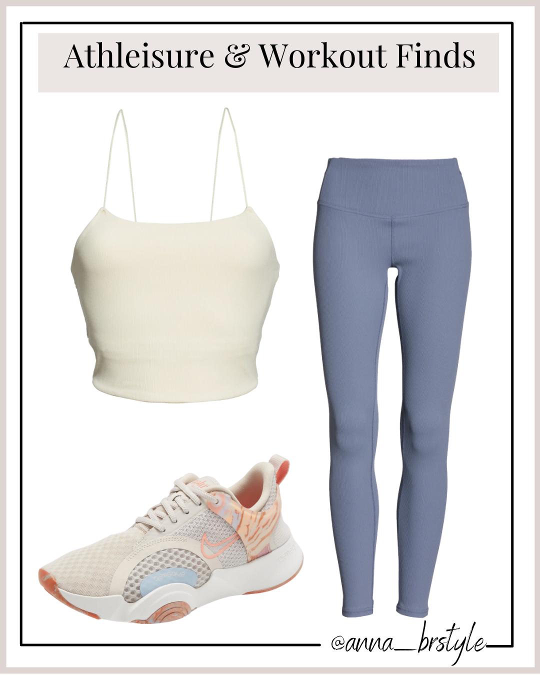 leggings, tank, sneakers, workout gear