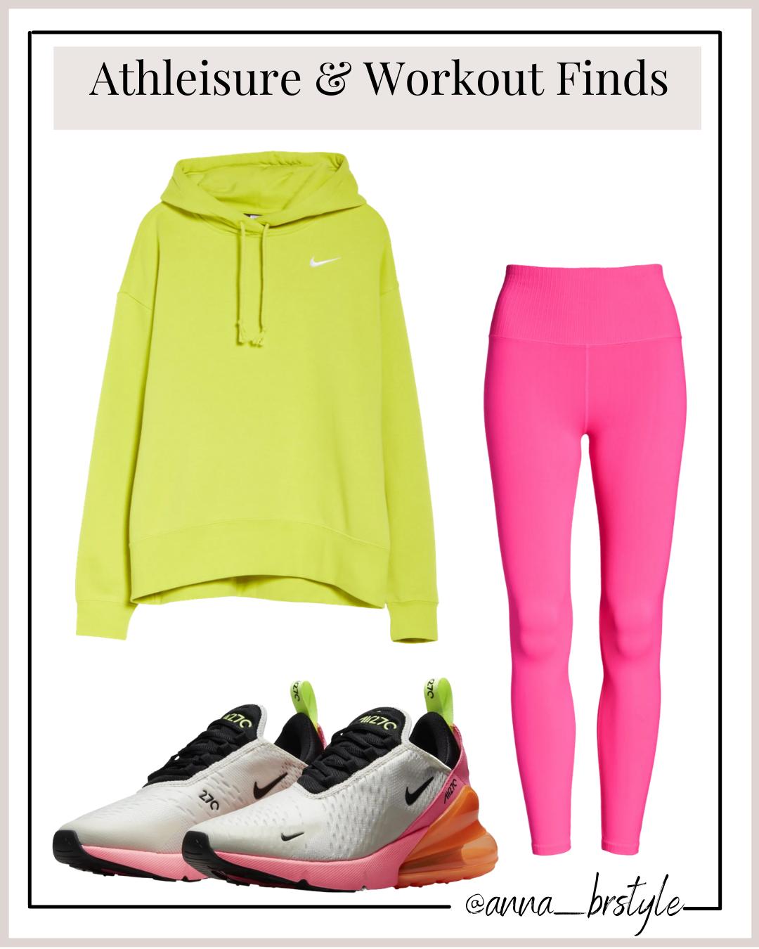 nike hoodie, nike sneakers, pink leggings