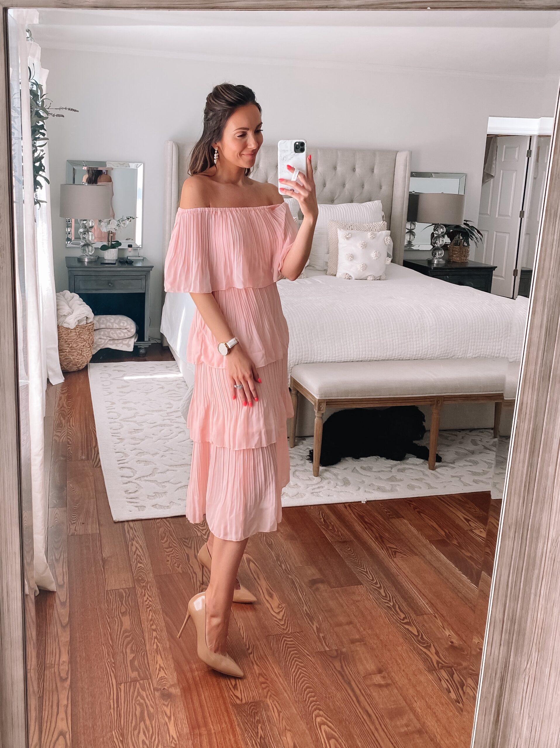 amazon pink dress, wedding guest dress