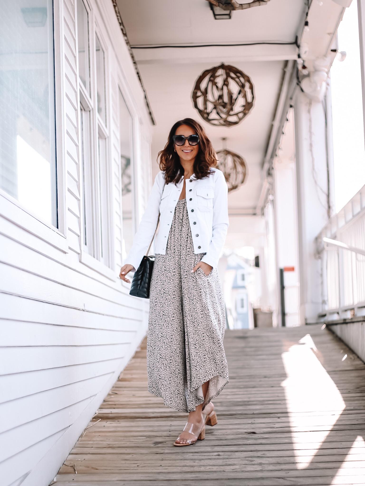 mini leopard jumpsuit with white denim jacket