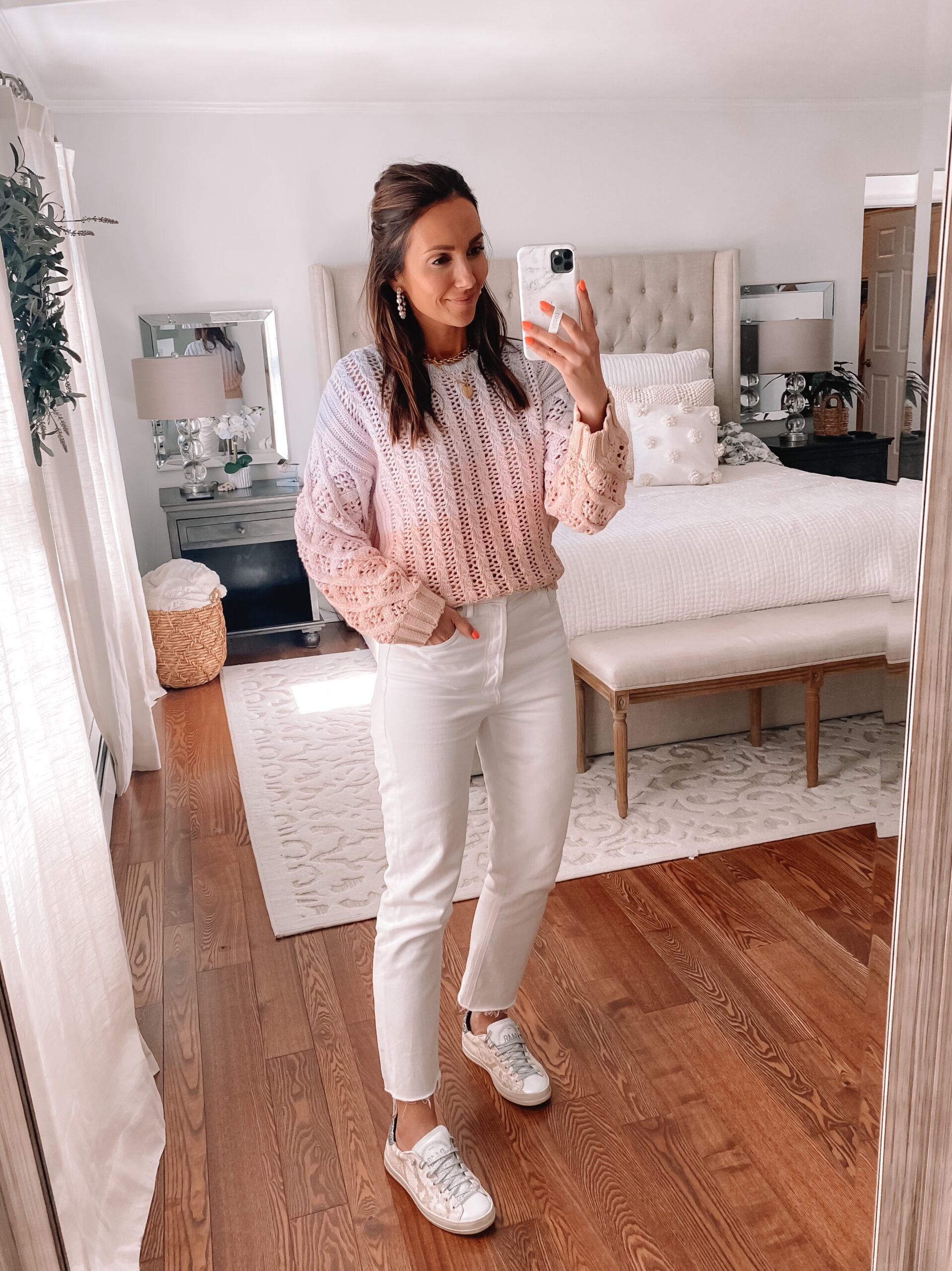 ombre sweater with agolde jeans