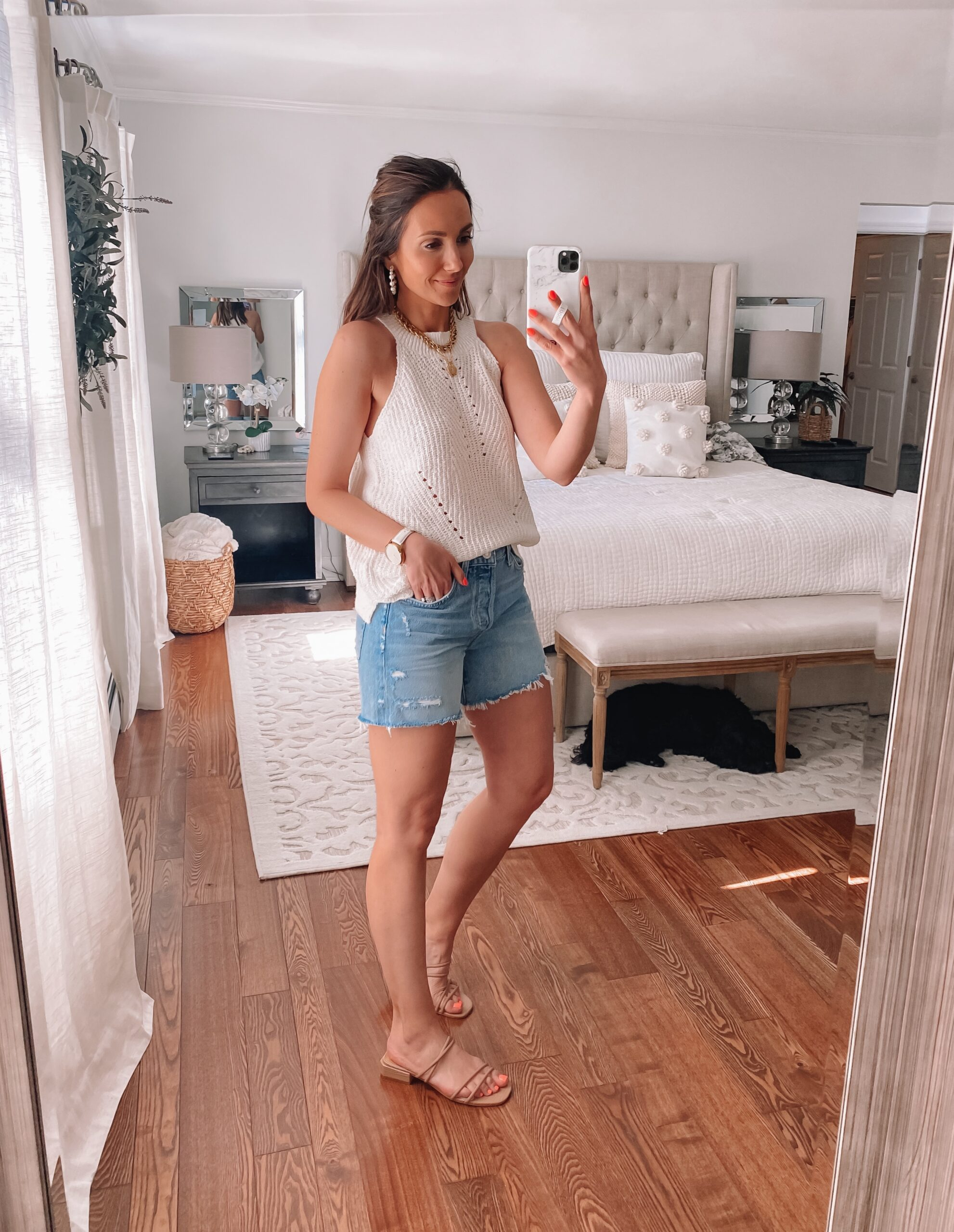 agolde parker shorts with sweater tank