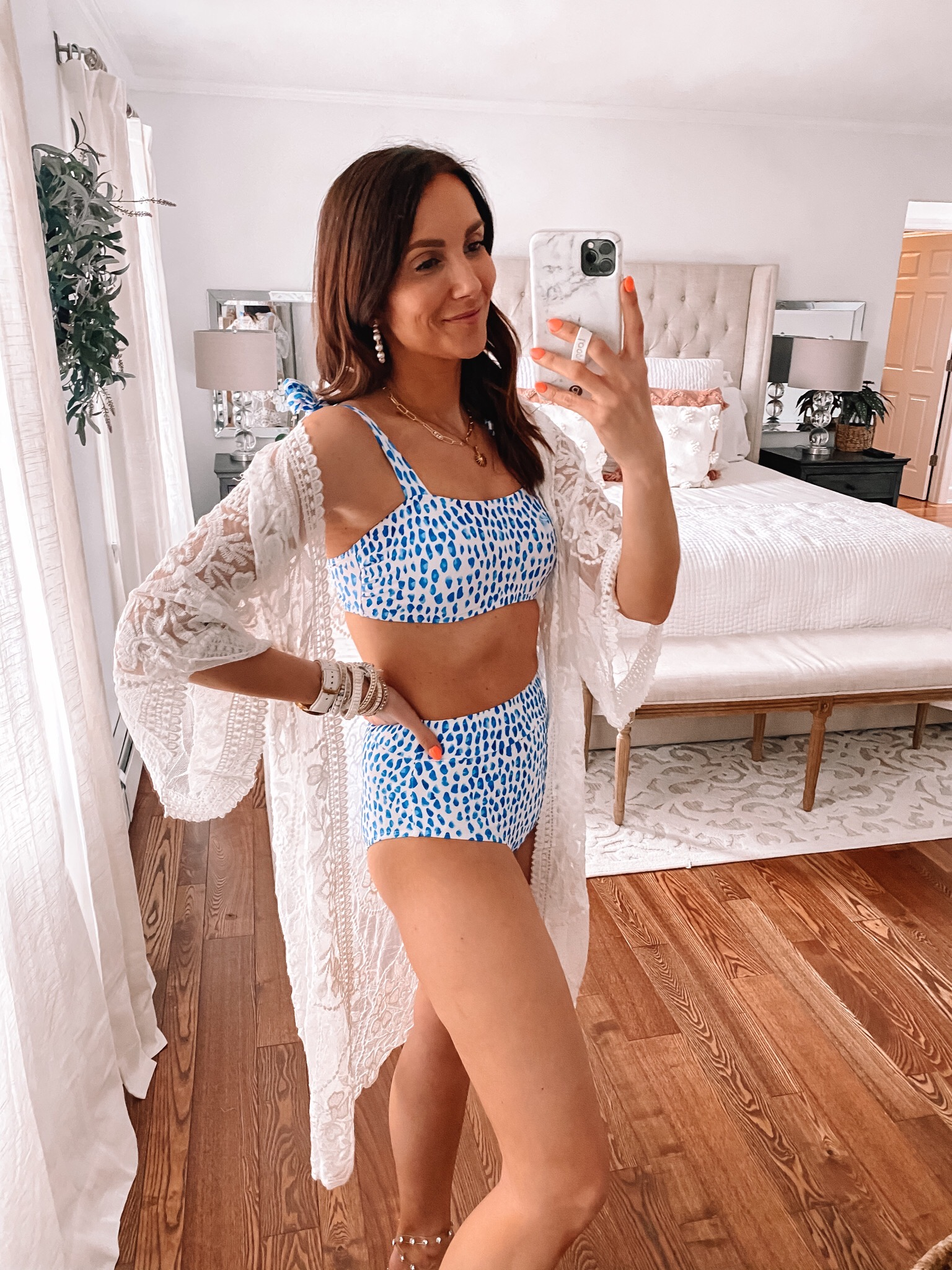 amazon two piece swimsuit, crochet cover up