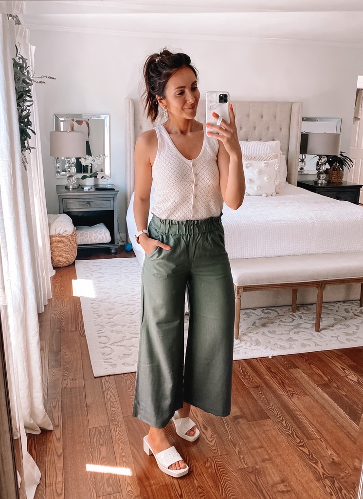 loft sweater tank with green pants