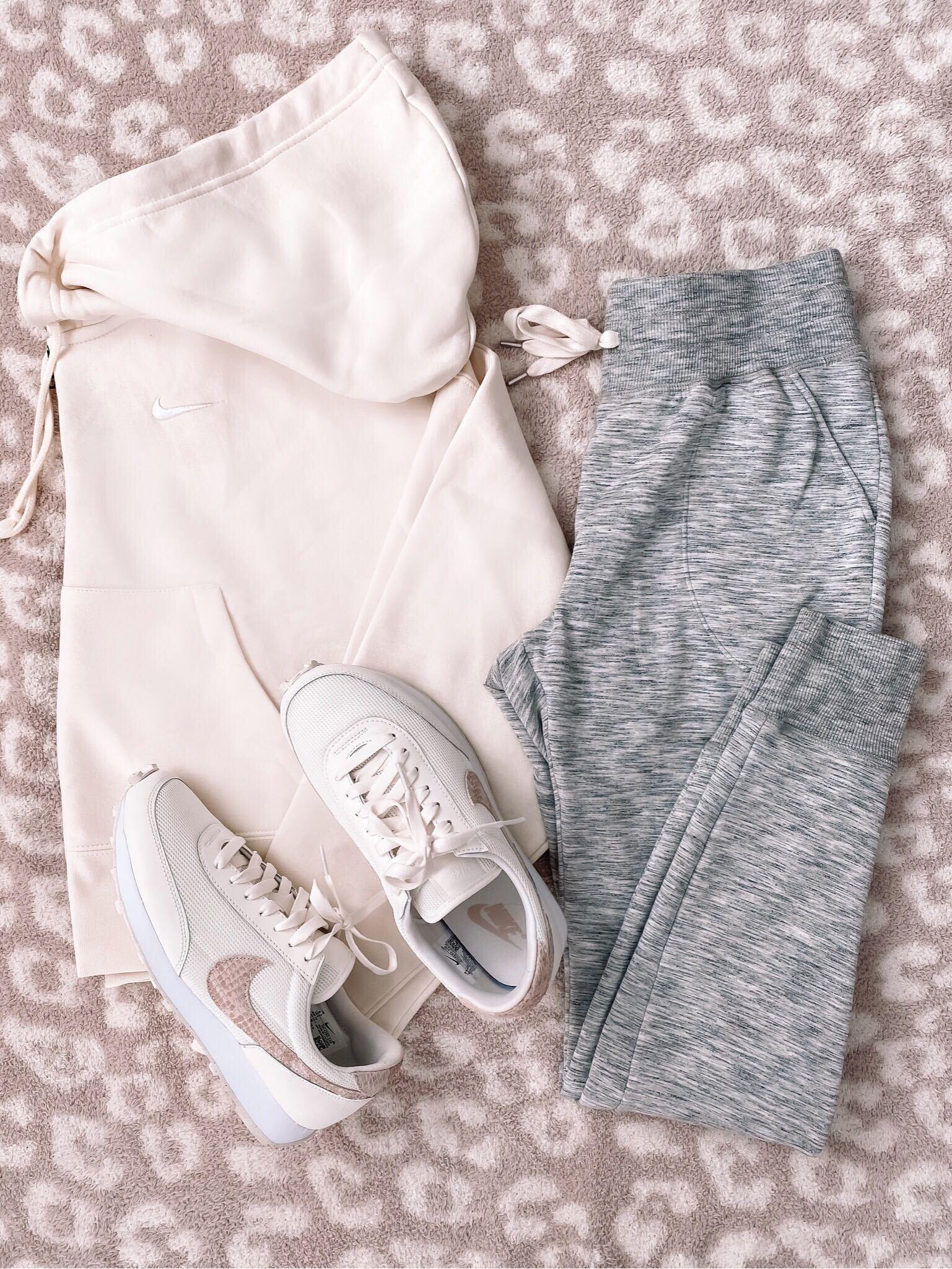 cropped hoodie, joggers, nike sneakers