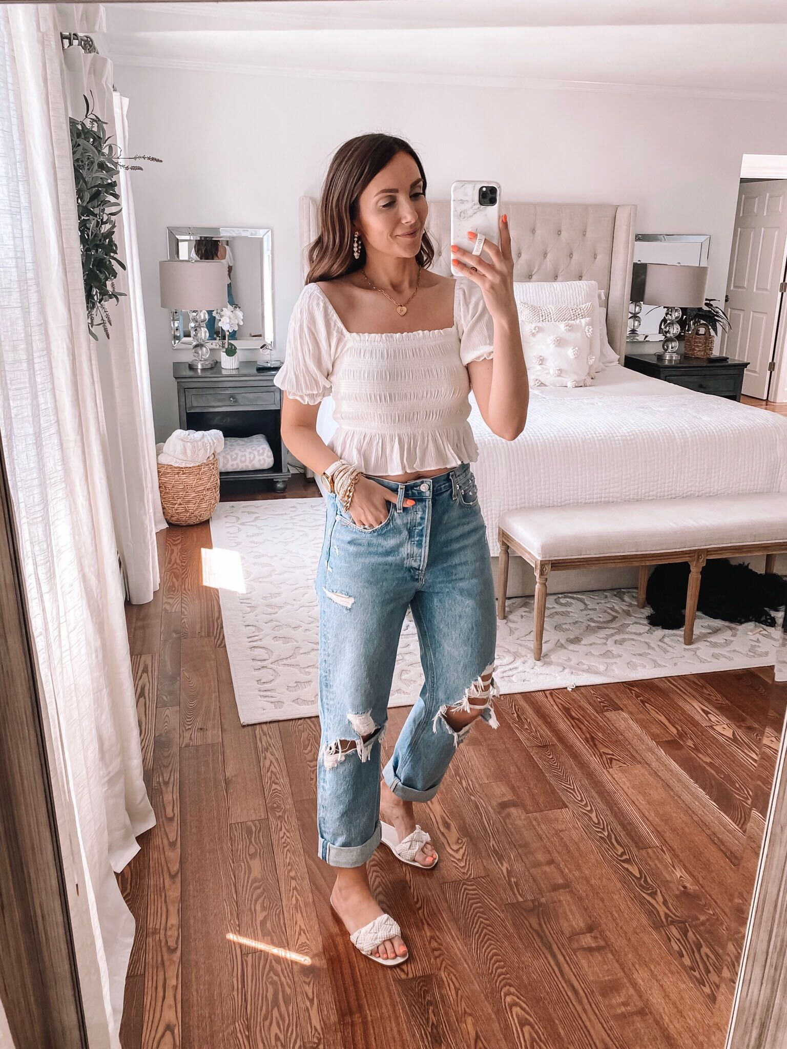 spring outfit, smocked top and jeans