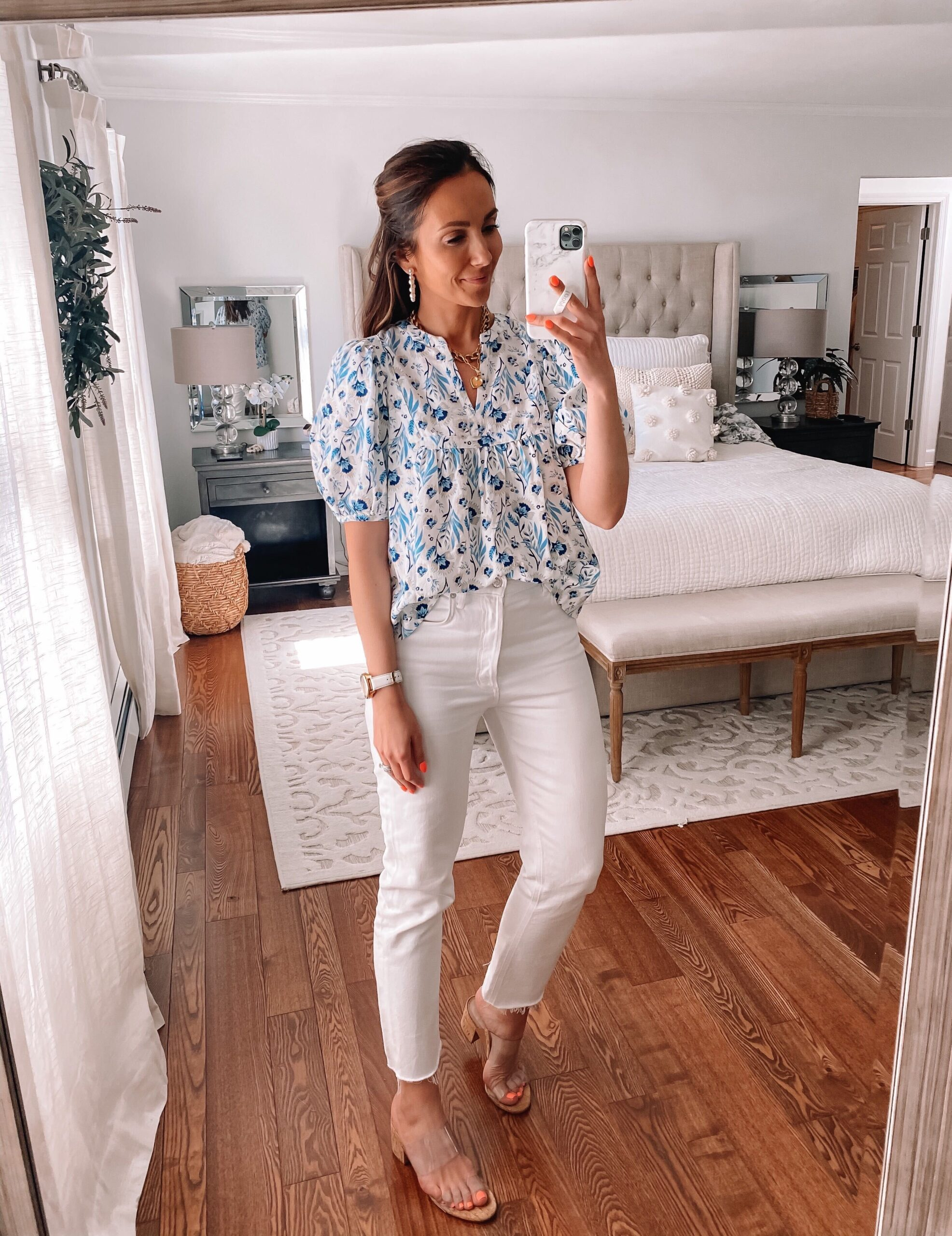 target blouse with white jeans