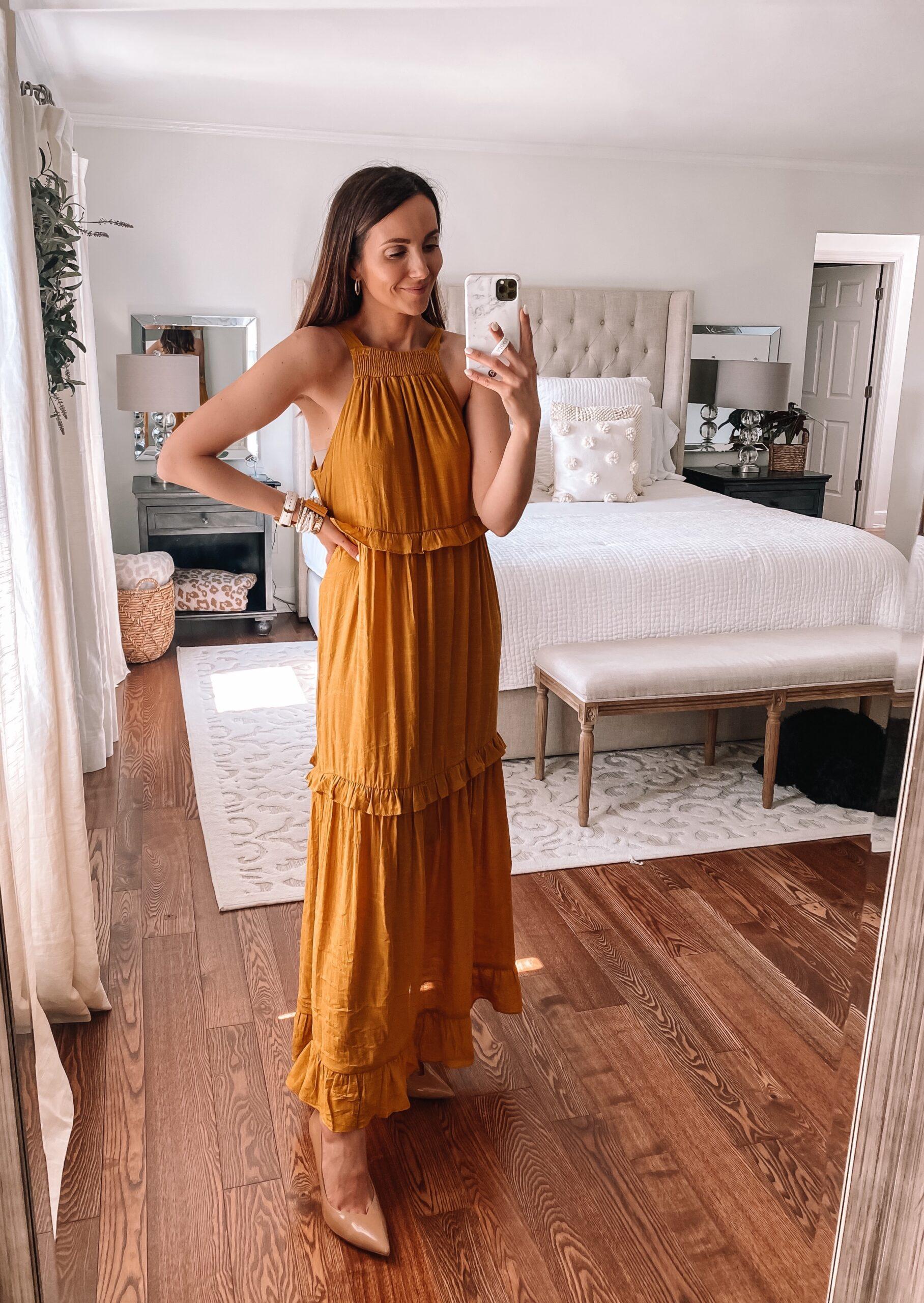 forever 21 maxi mustard dress