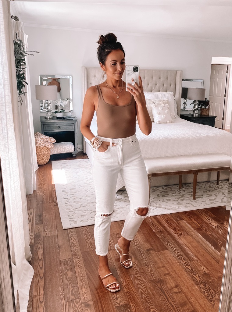 abercrombie white jeans with bodysuit