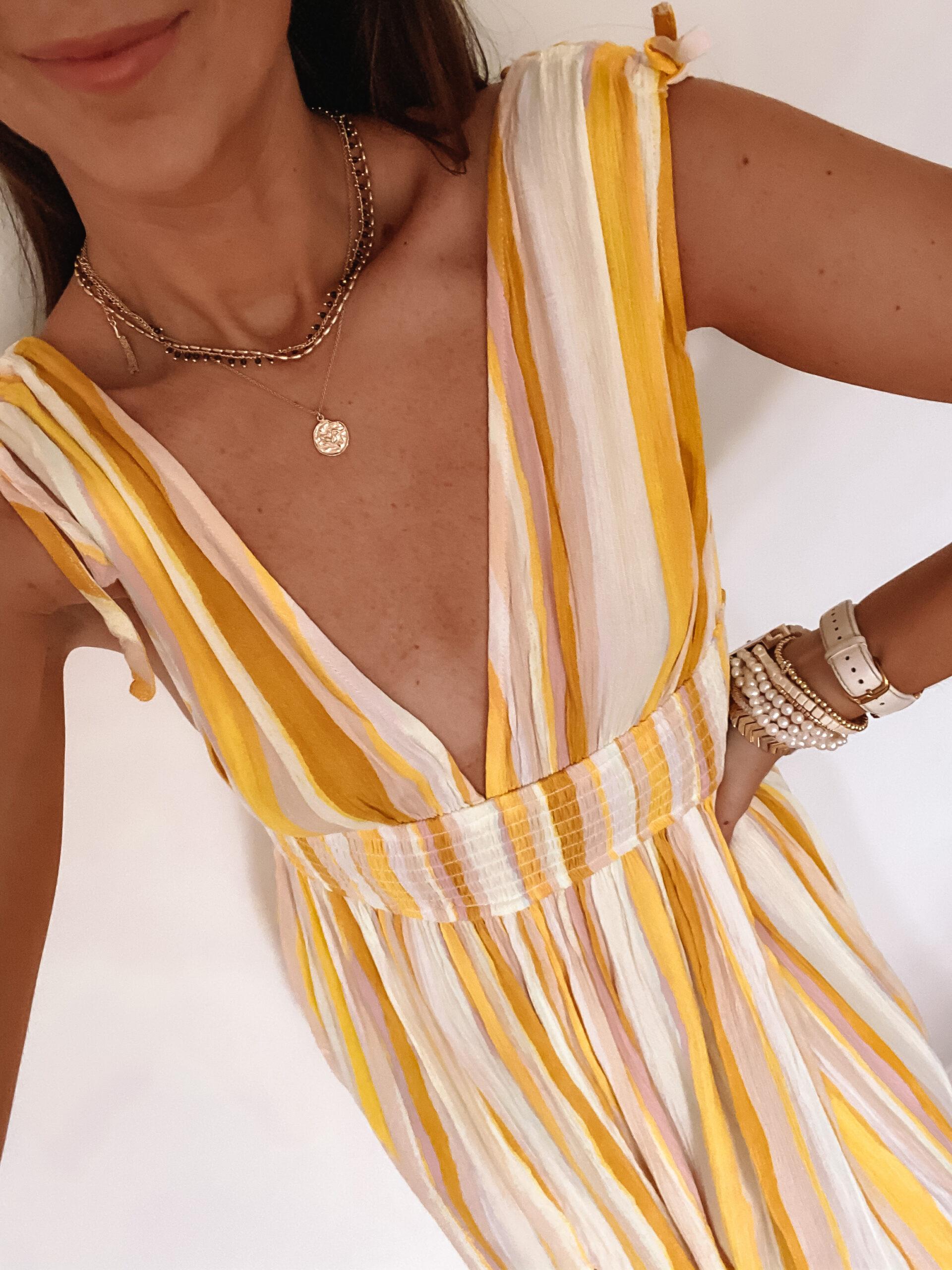forever 21 yellow stripe dress
