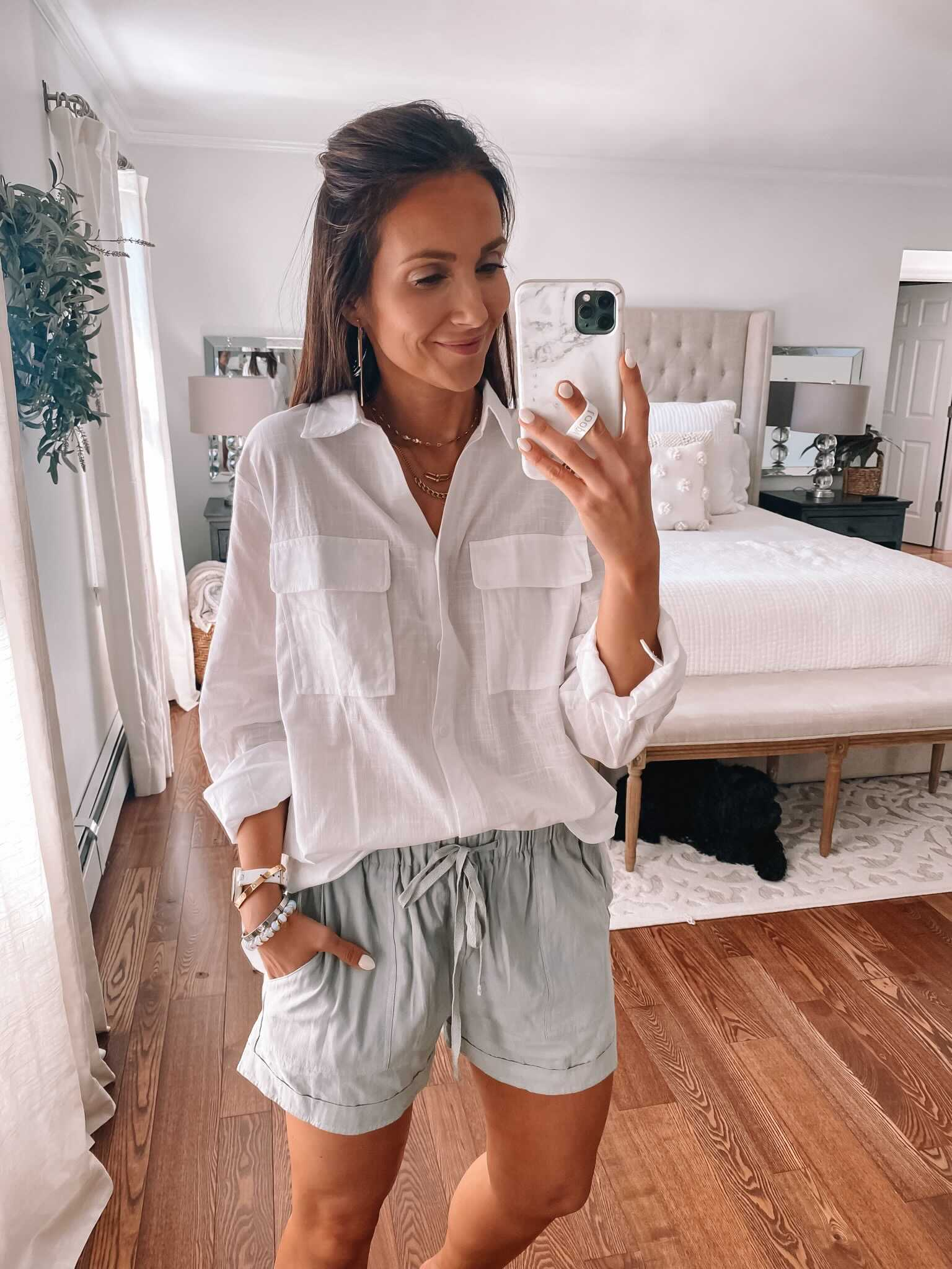 amazon white button down with shorts