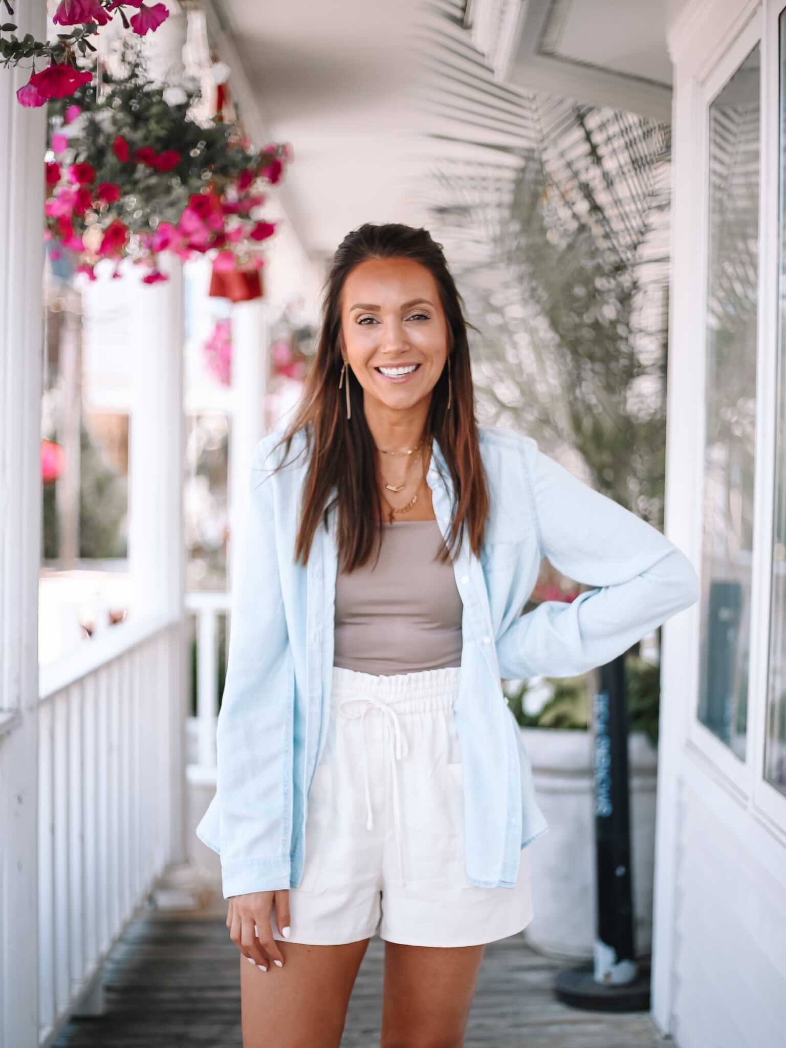express outfit with chambray shirt