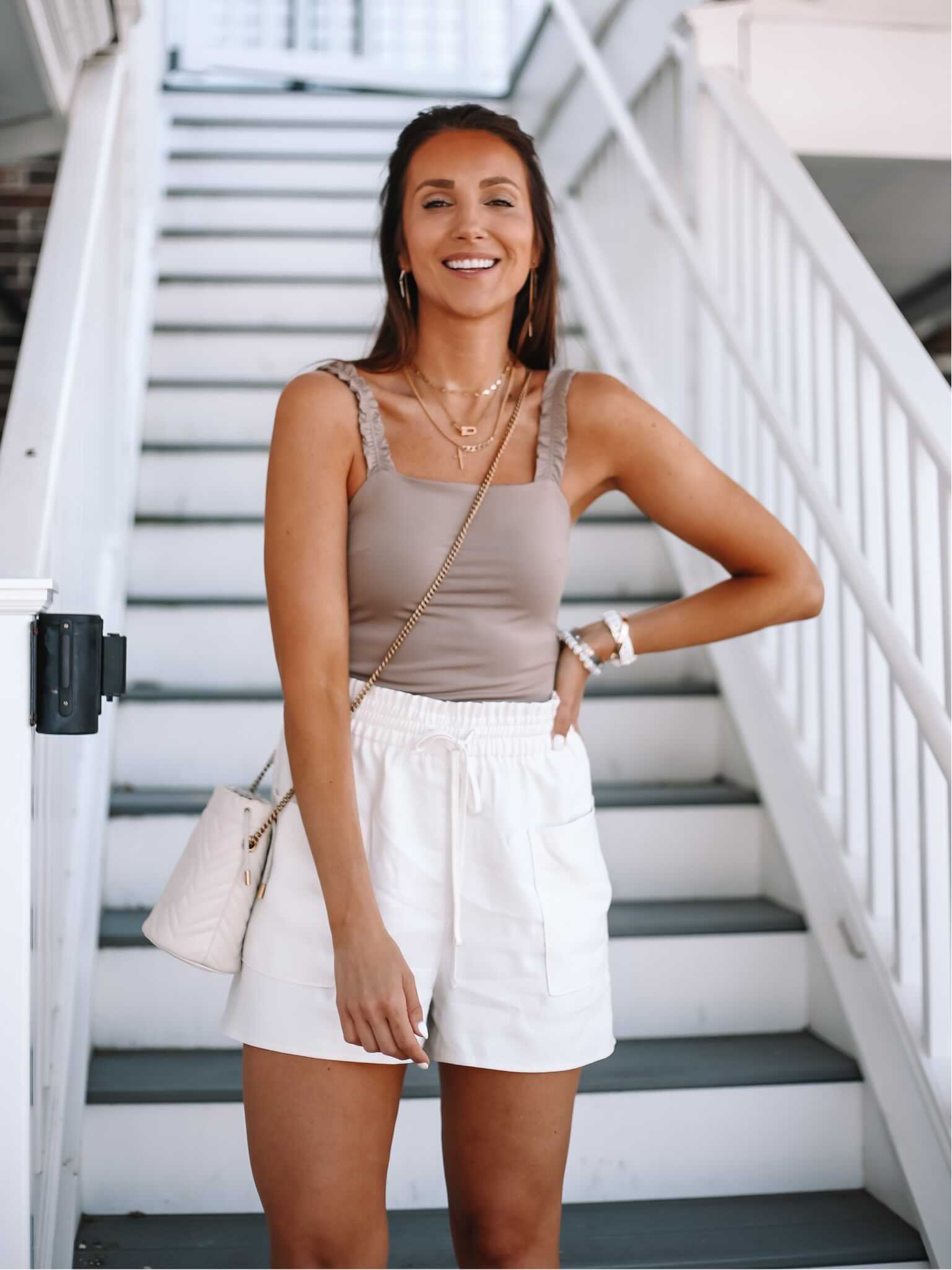 express bodysuit with white shorts