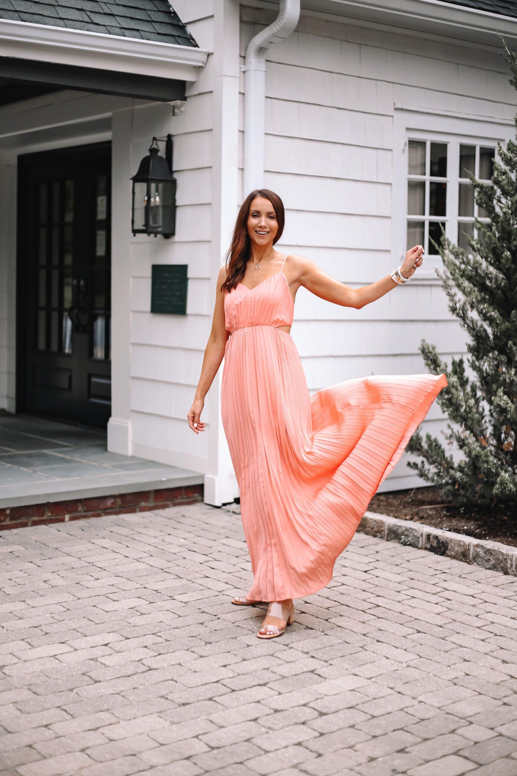 express coral maxi dress, wedding guest dress