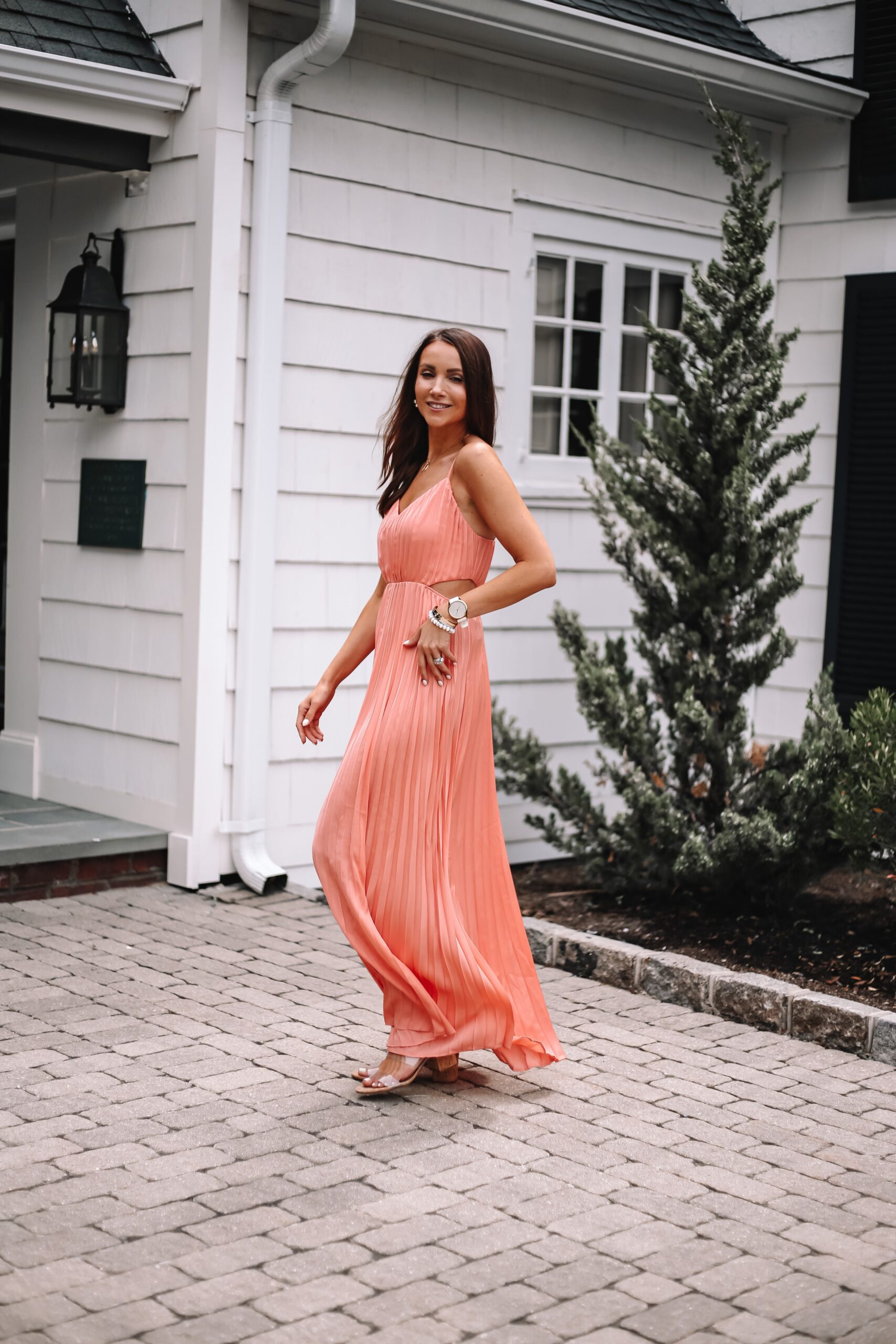 coral express wedding guest dress