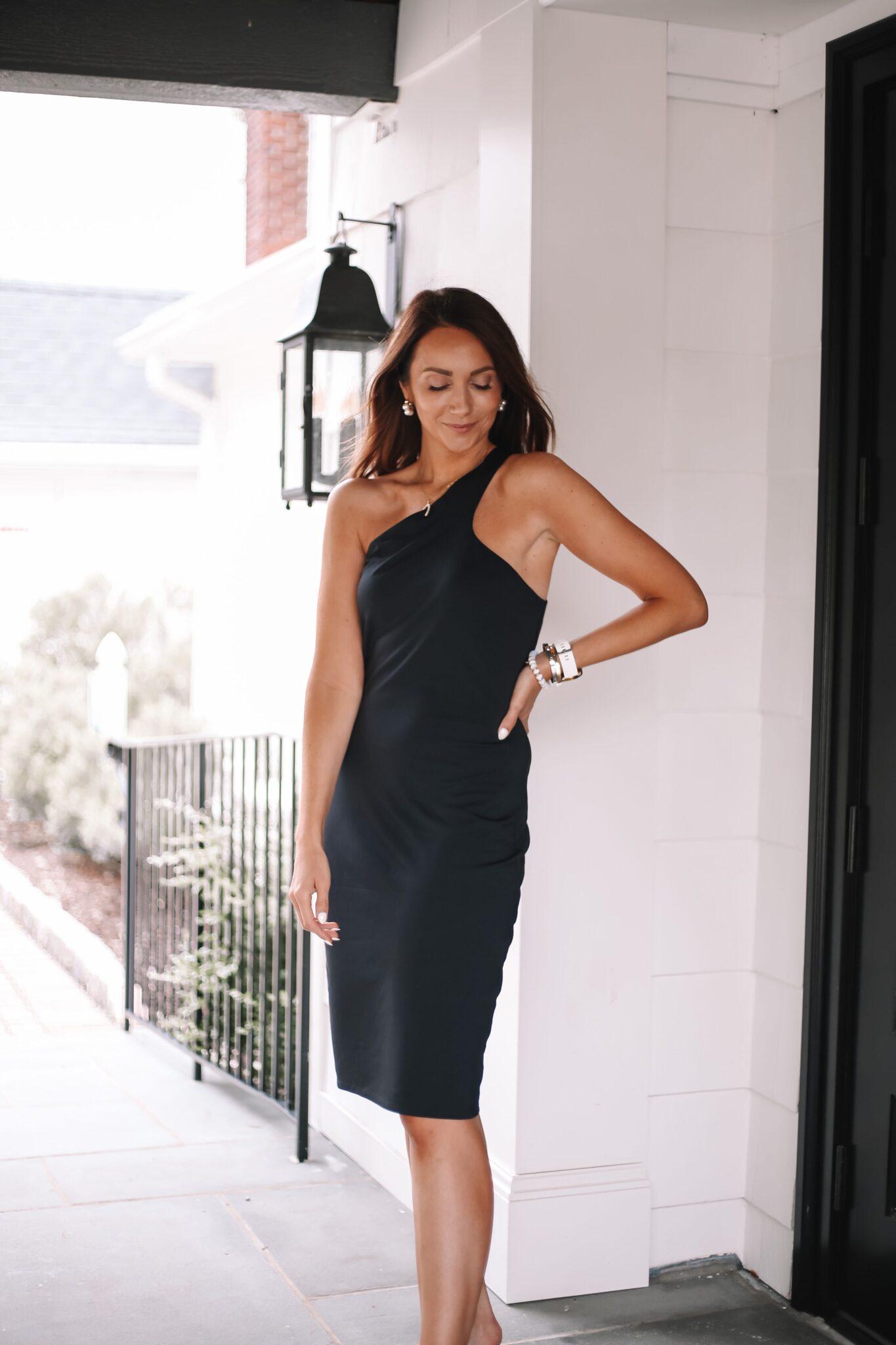 express wedding guest black dress