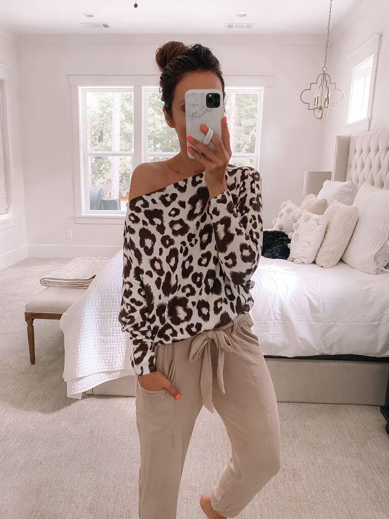 nsale loungewear, leopard top, fleece joggers