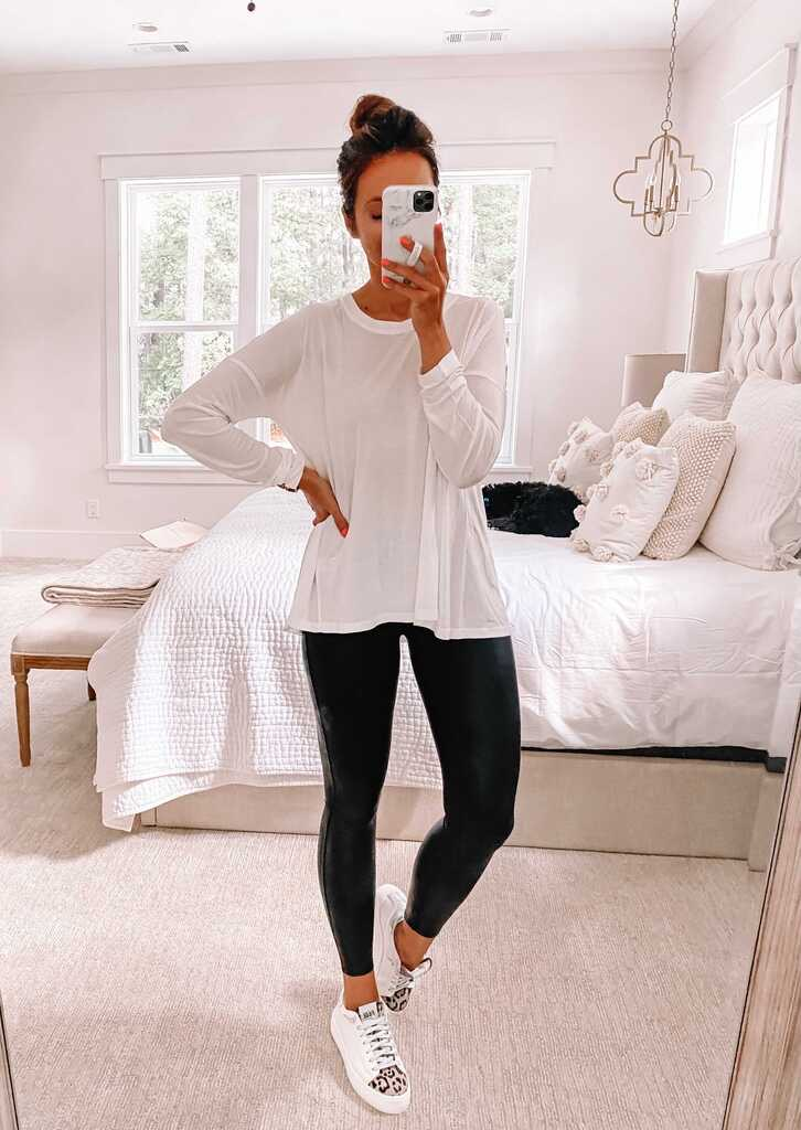 nsale, sweaty betty top and faux leather leggings