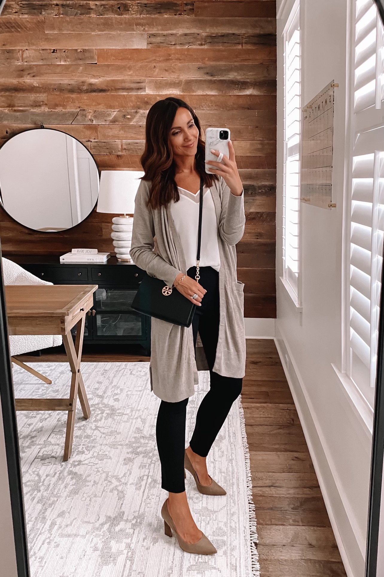 workwear outfit, outfit with black pants, outfit with cardigan, fall workwear