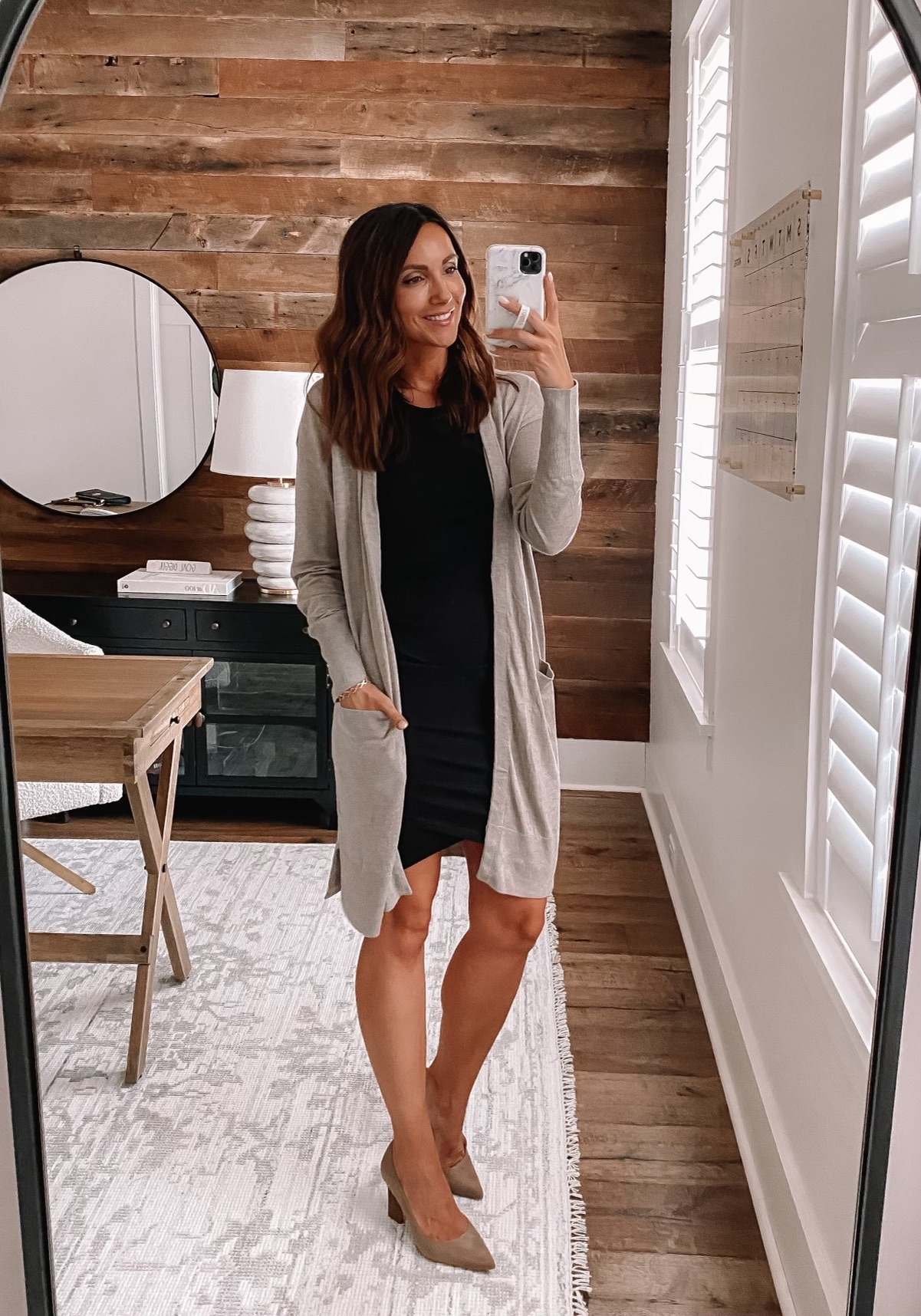 workwear outfit with dress and cardigan