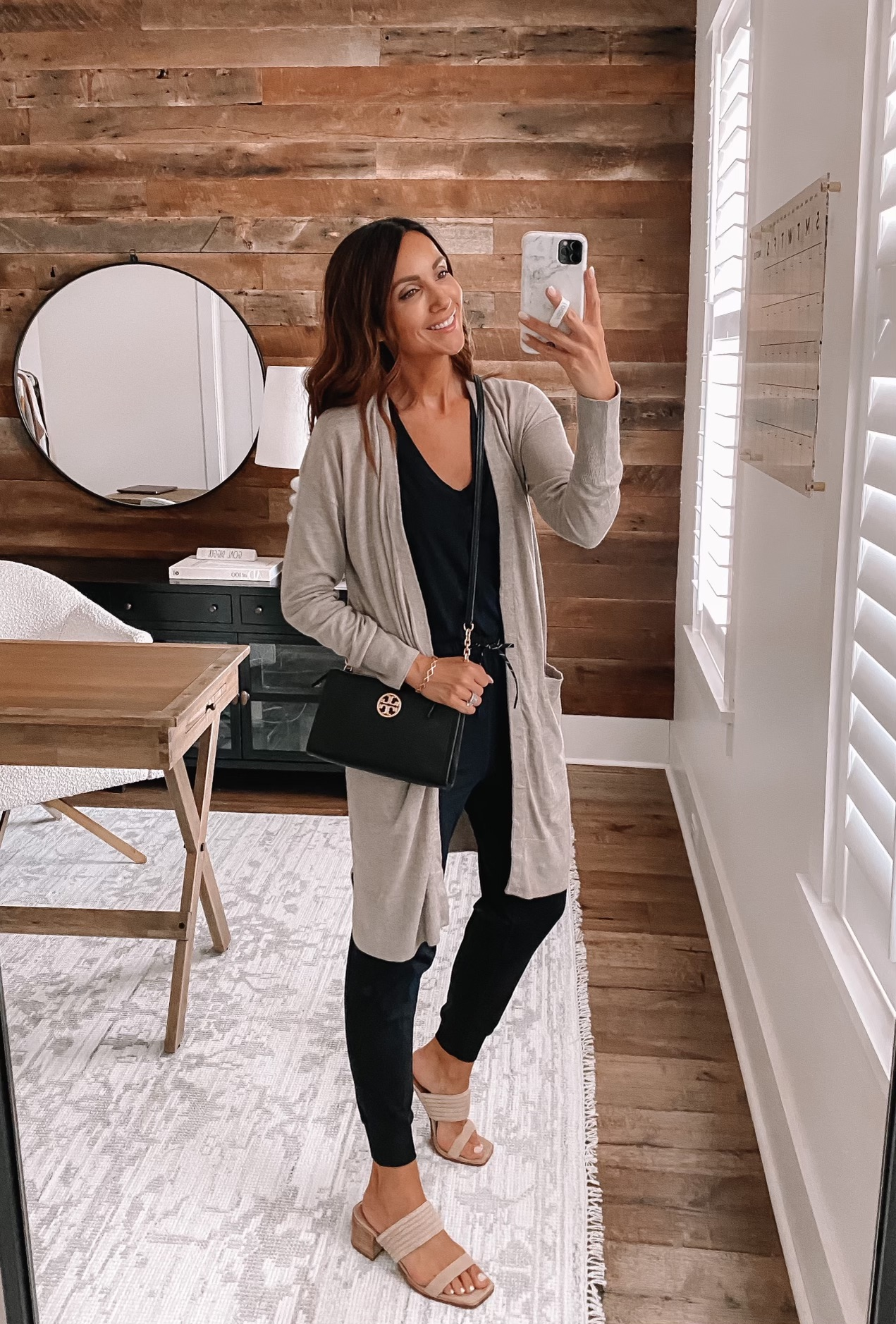wfh outfit, jumpsuit with cardigan
