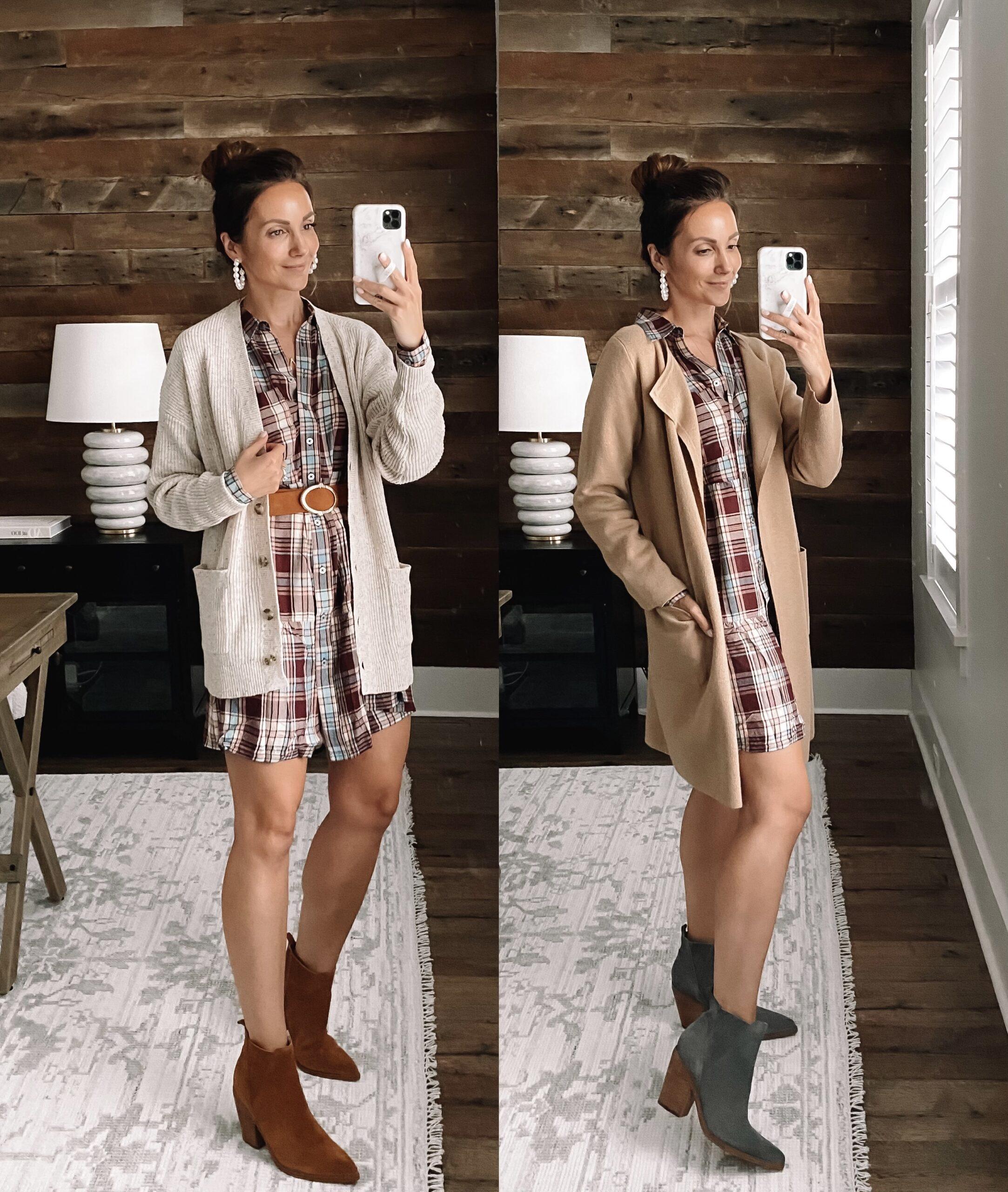 loft workwear outfit, loft plaid dress, loft teacher outfit