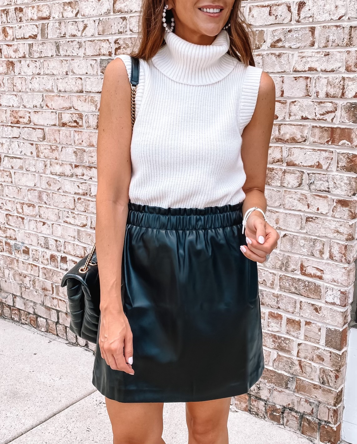 faux leather skirt and sweater