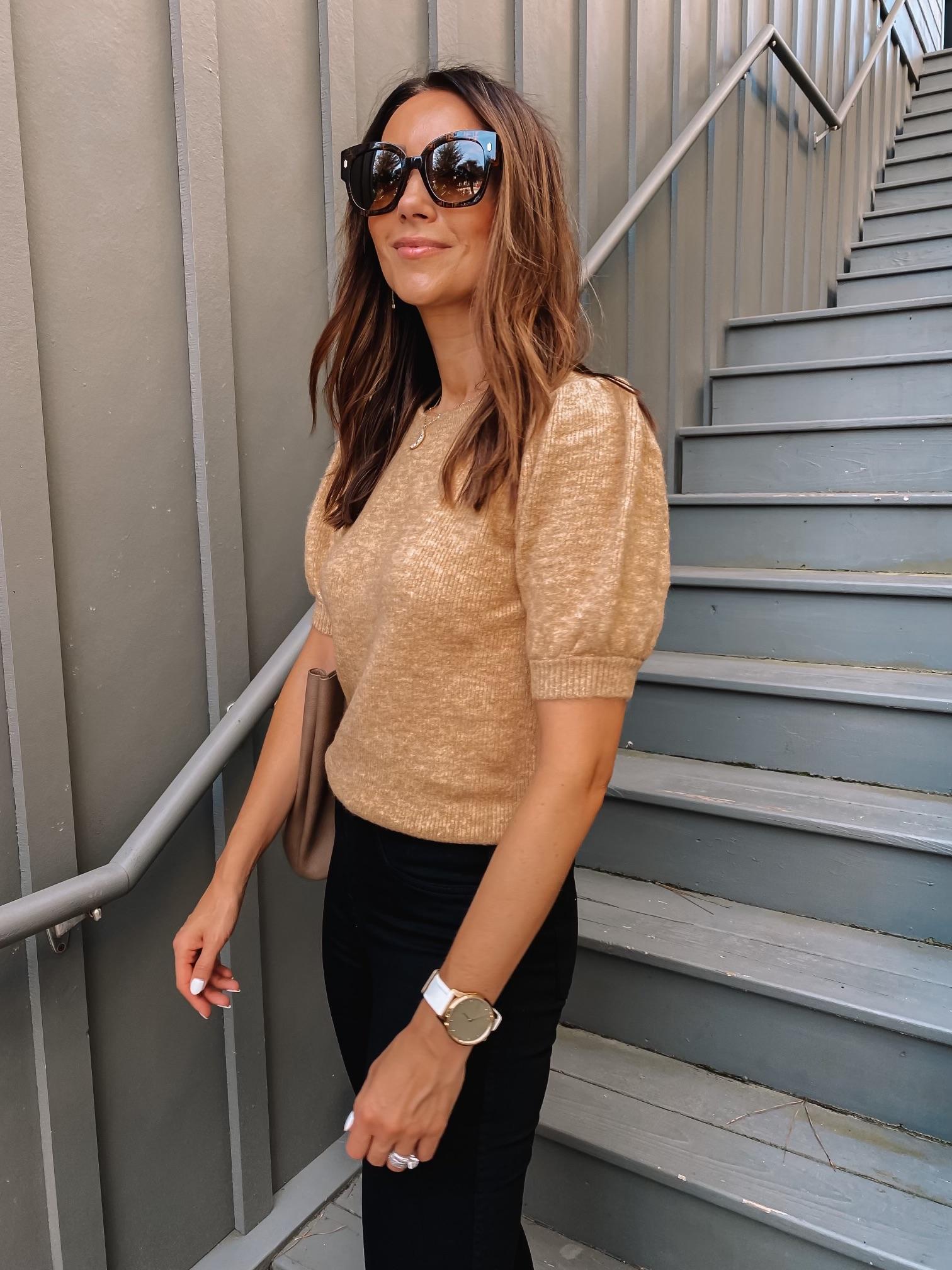 fall style, workwear style, puff sleeve sweater