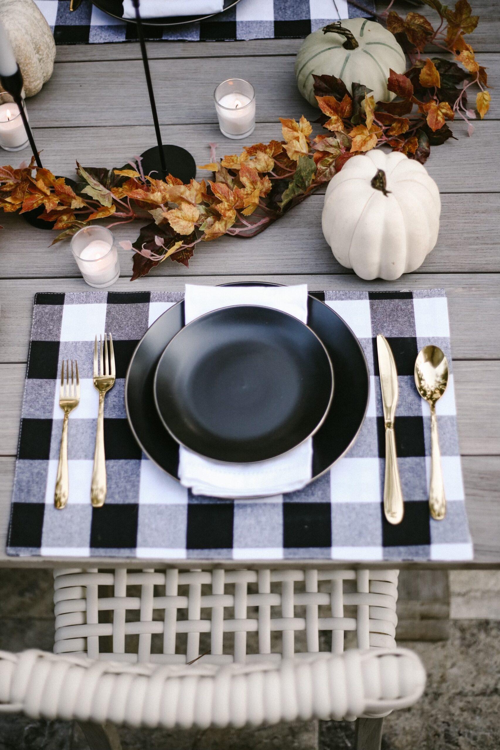 walmart fall tablescape, black matte plates