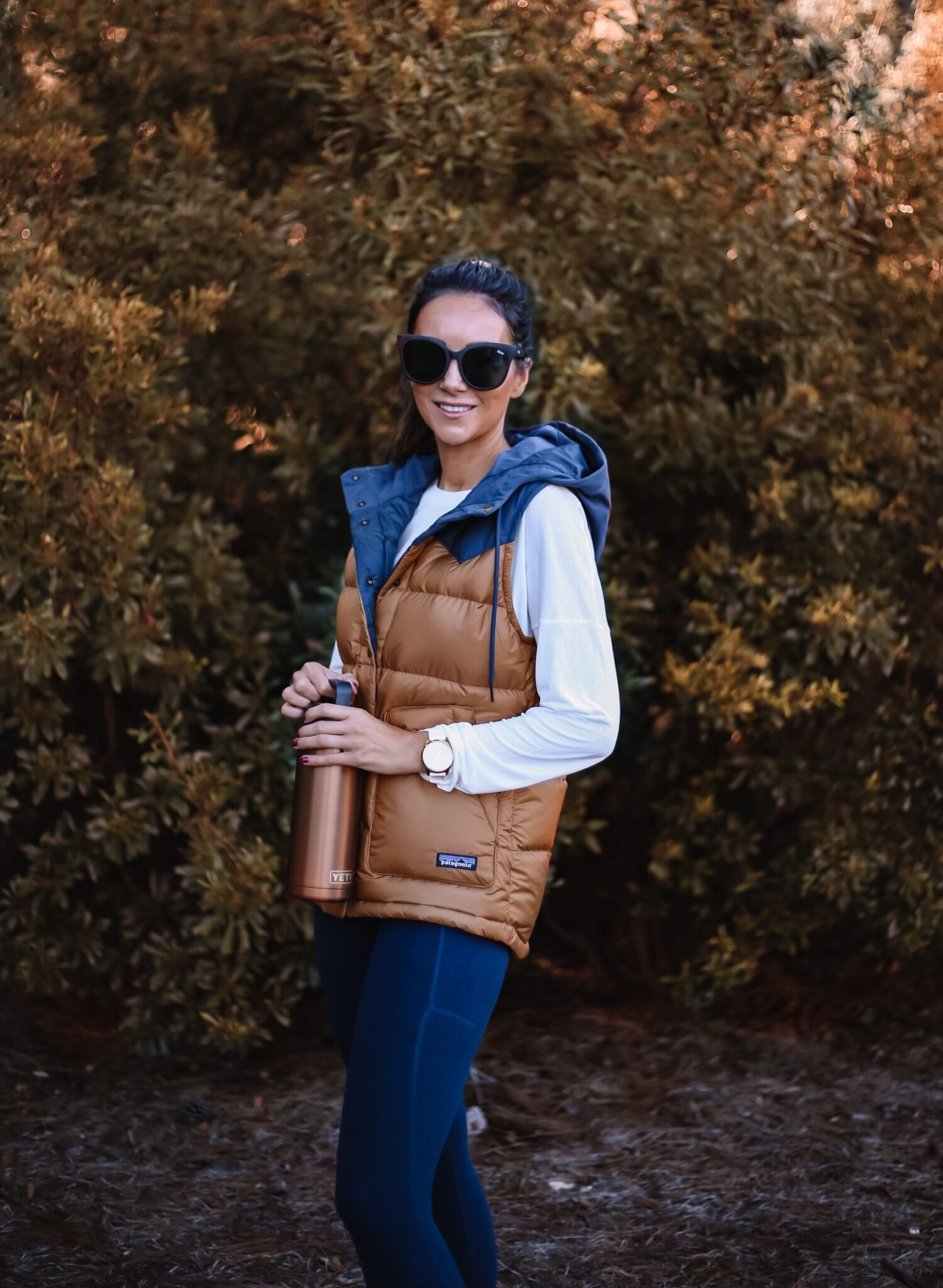 patagonia vest, leggings, yeti rambler, backcountry
