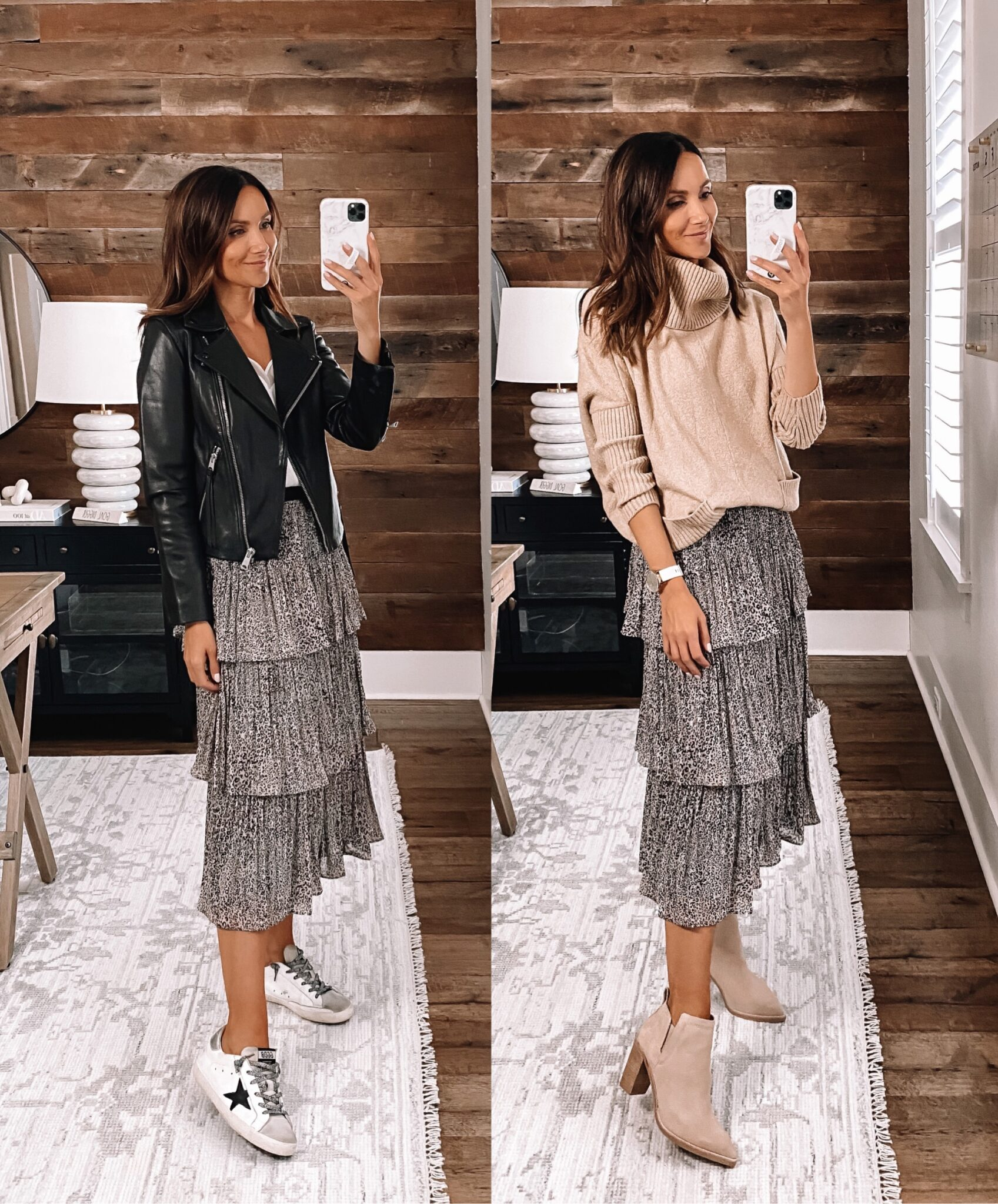 Floral tiered skirt, fall outfit, fall fashion
