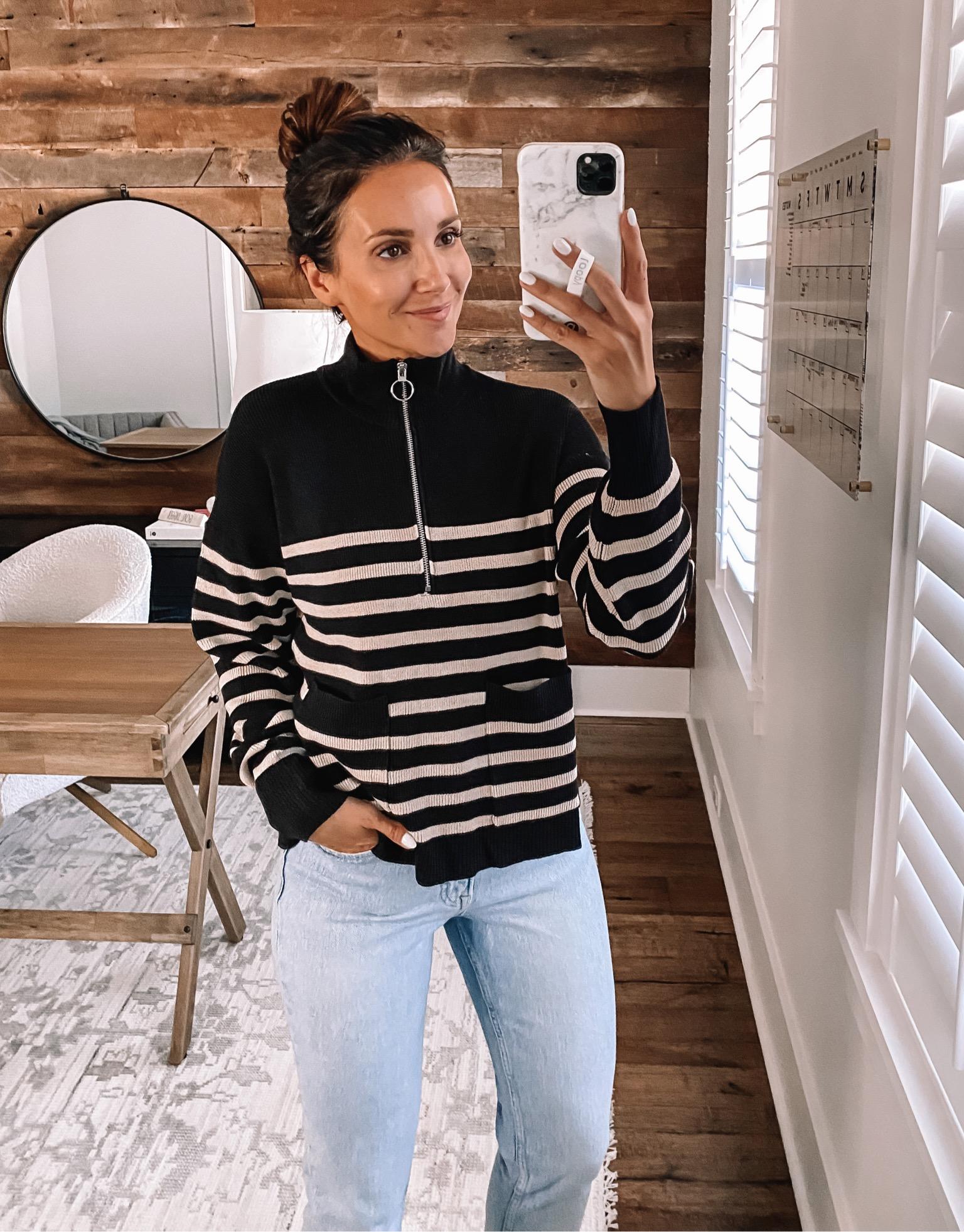 walmart stripe sweater, walmart fashion finds, walmart fall fashion