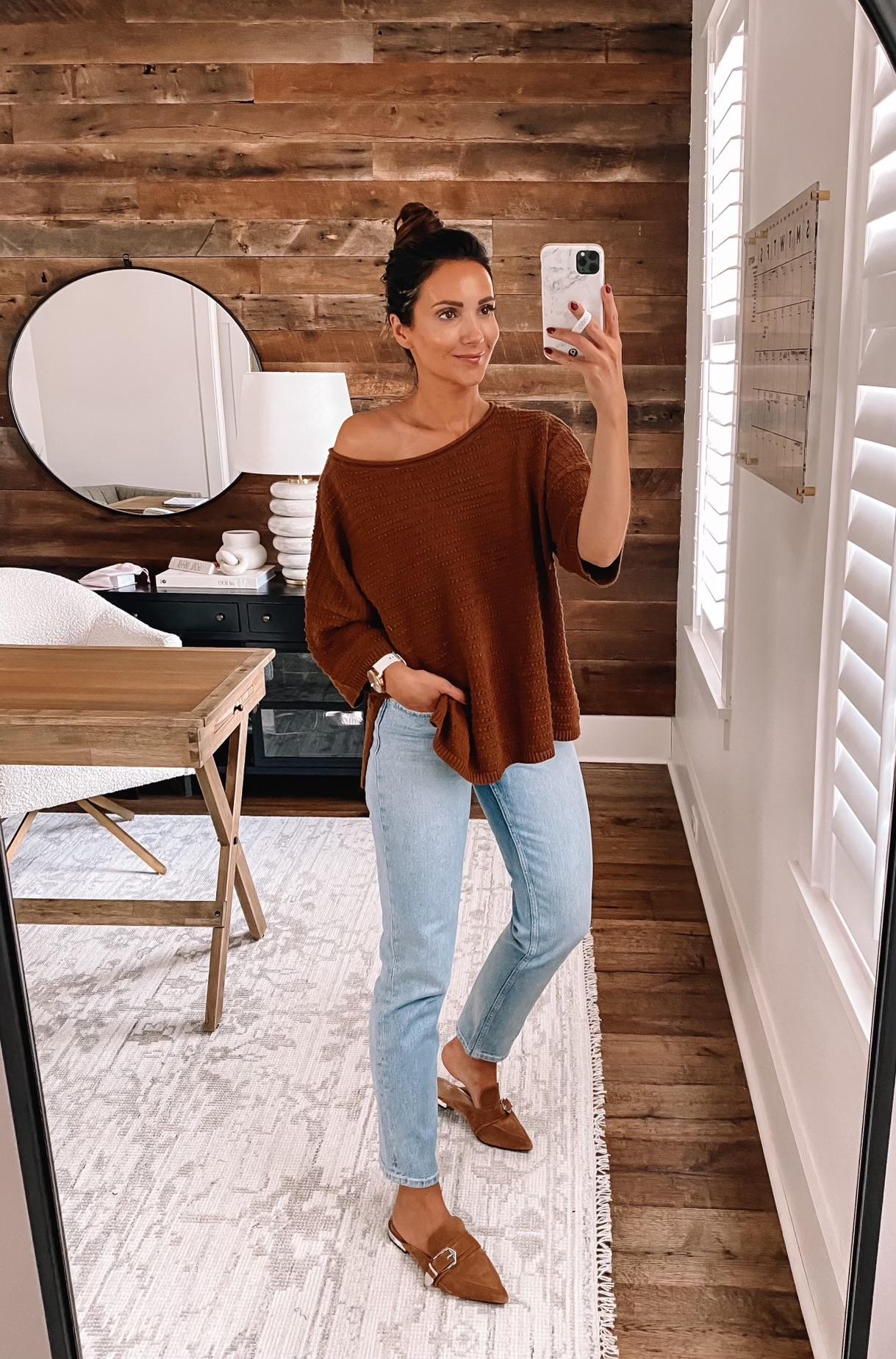 walmart fall fashion, walmart tee and jeans, fall style